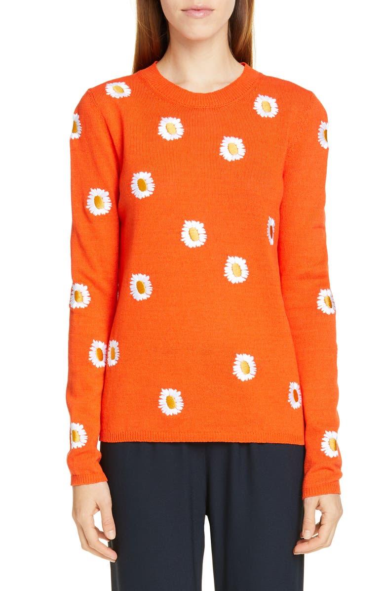Mansur Gavriel Sweaters DAISY EMBROIDERED LINEN & COTTON SWEATER