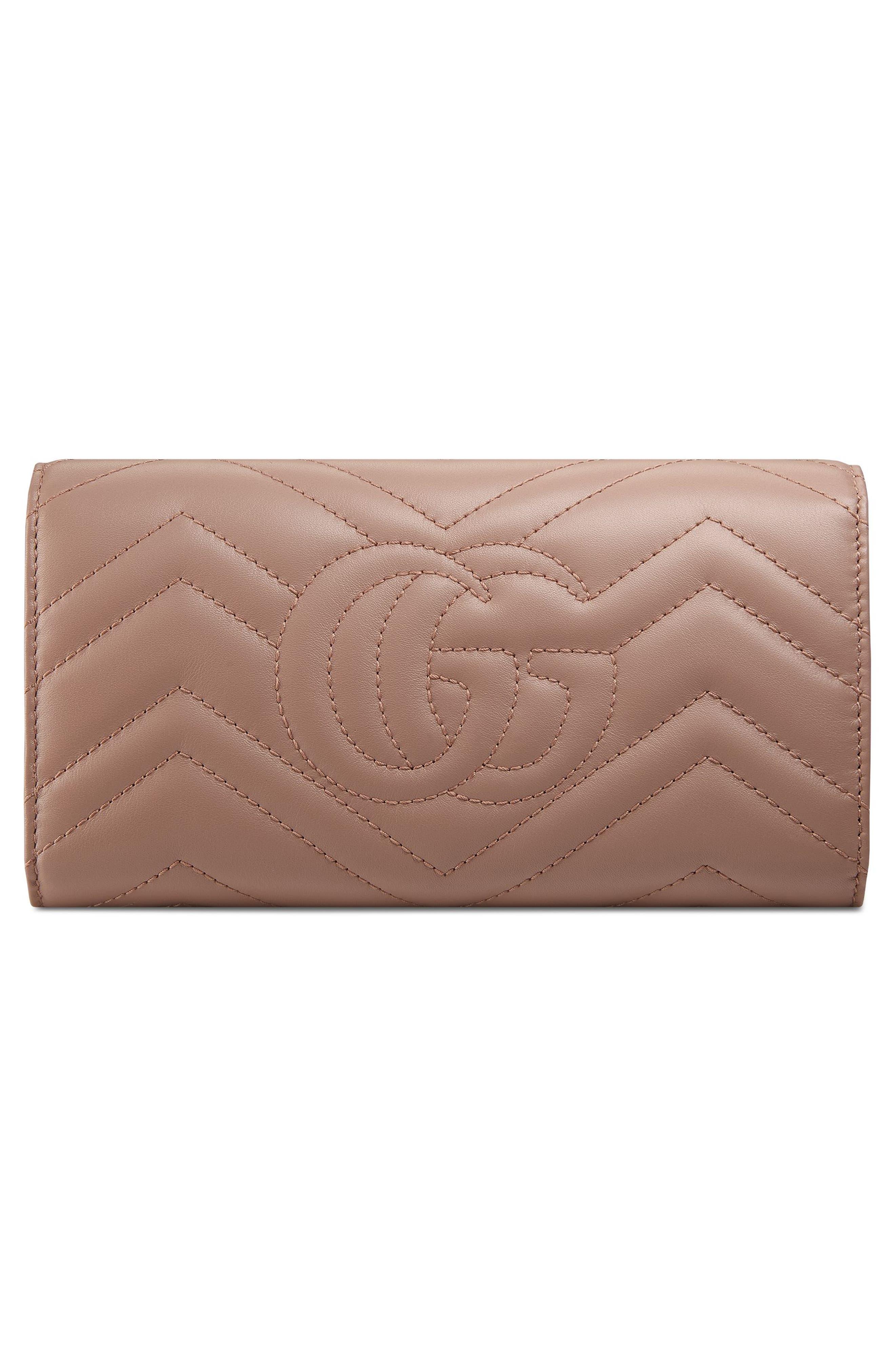 GUCCI, GG Marmont Matelassé Leather Continental Wallet, Alternate thumbnail 3, color, PORCELAIN ROSE