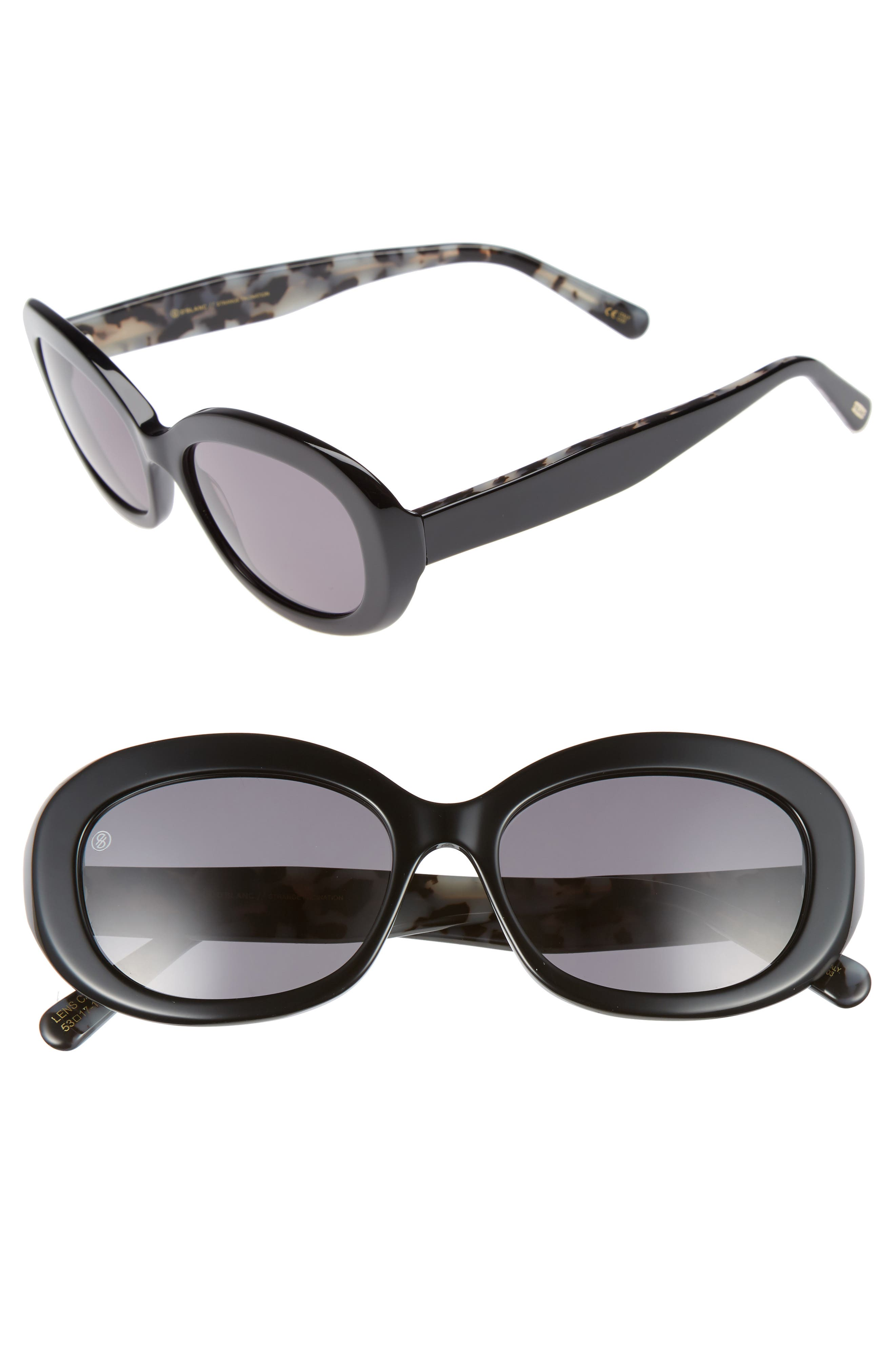 DBLANC, D'BLANC Strange Fascination 53mm Oval Sunglasses, Main thumbnail 1, color, 001