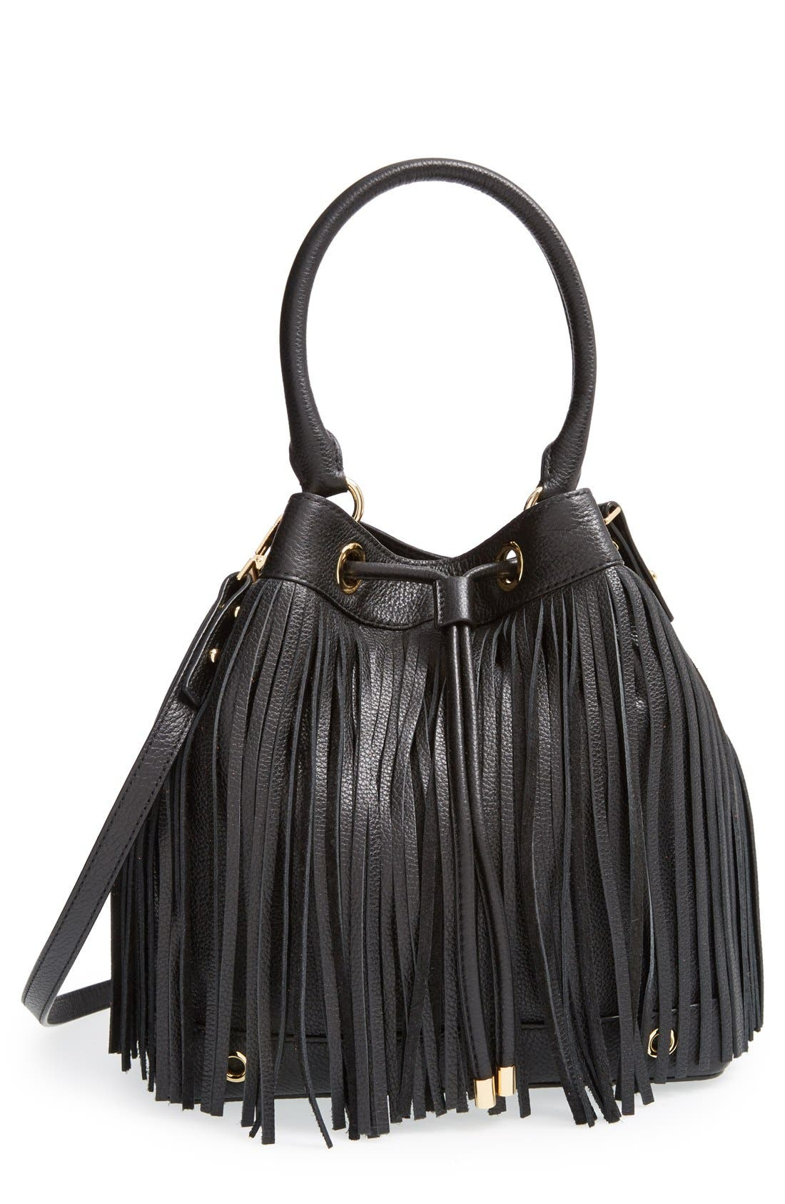 MILLY 'Essex' Fringed Leather Bucket Bag, Main, color, 001