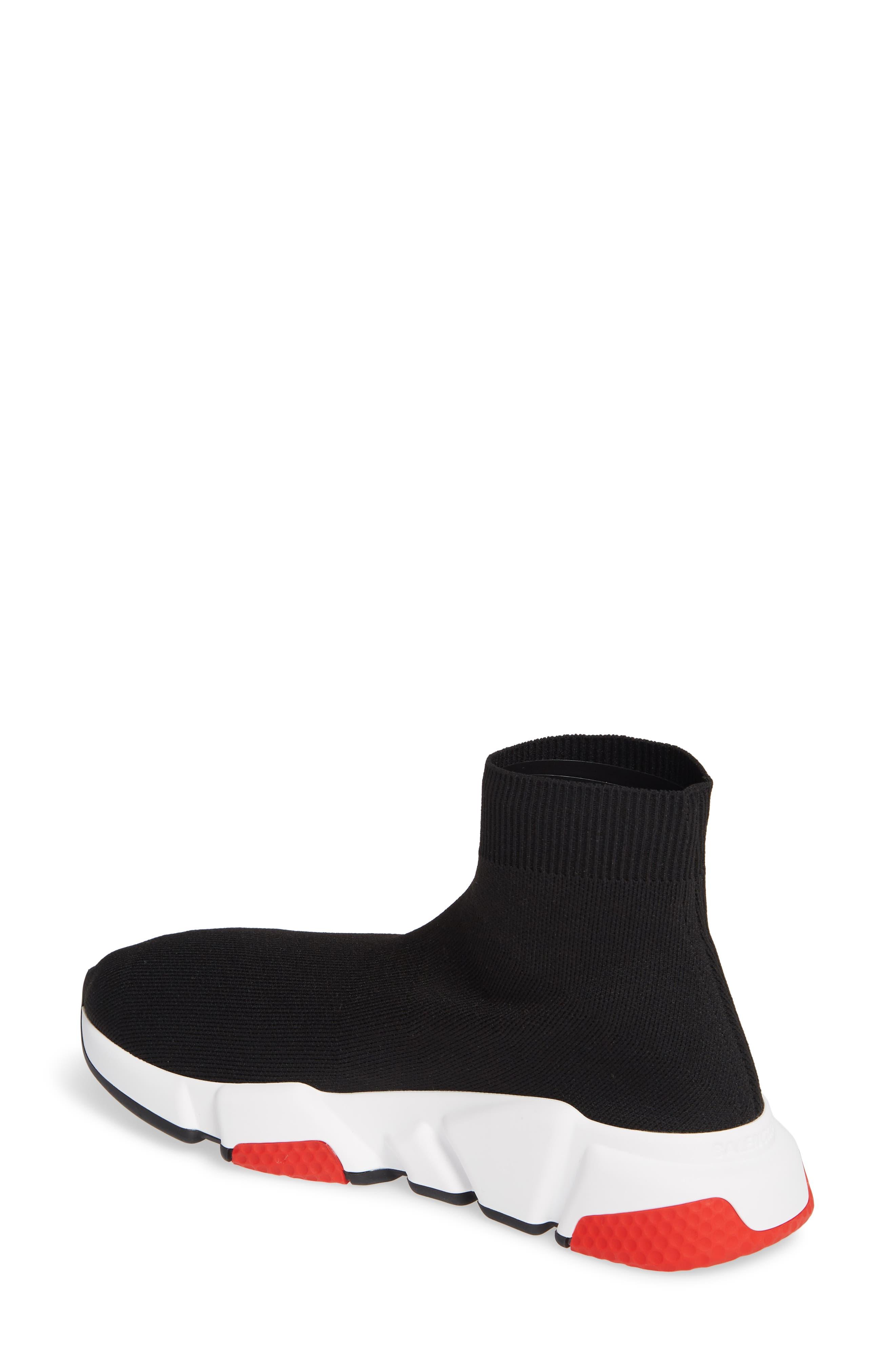 BALENCIAGA, Speed Knit Sneaker, Alternate thumbnail 2, color, BLACK/ RED