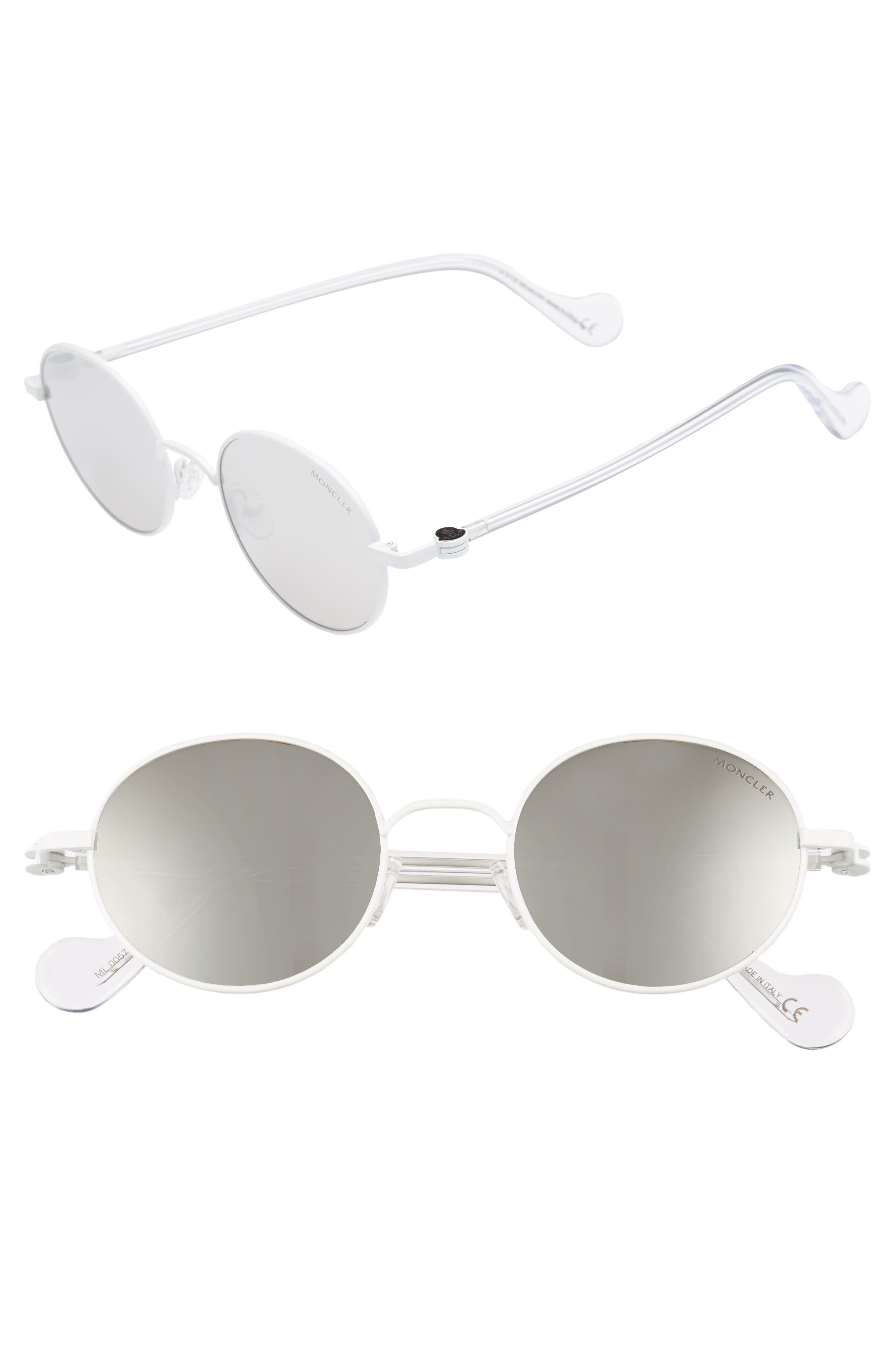 MONCLER, 49mm Round Metal Sunglasses, Main thumbnail 1, color, WHITE/ SMOKE MIRROR
