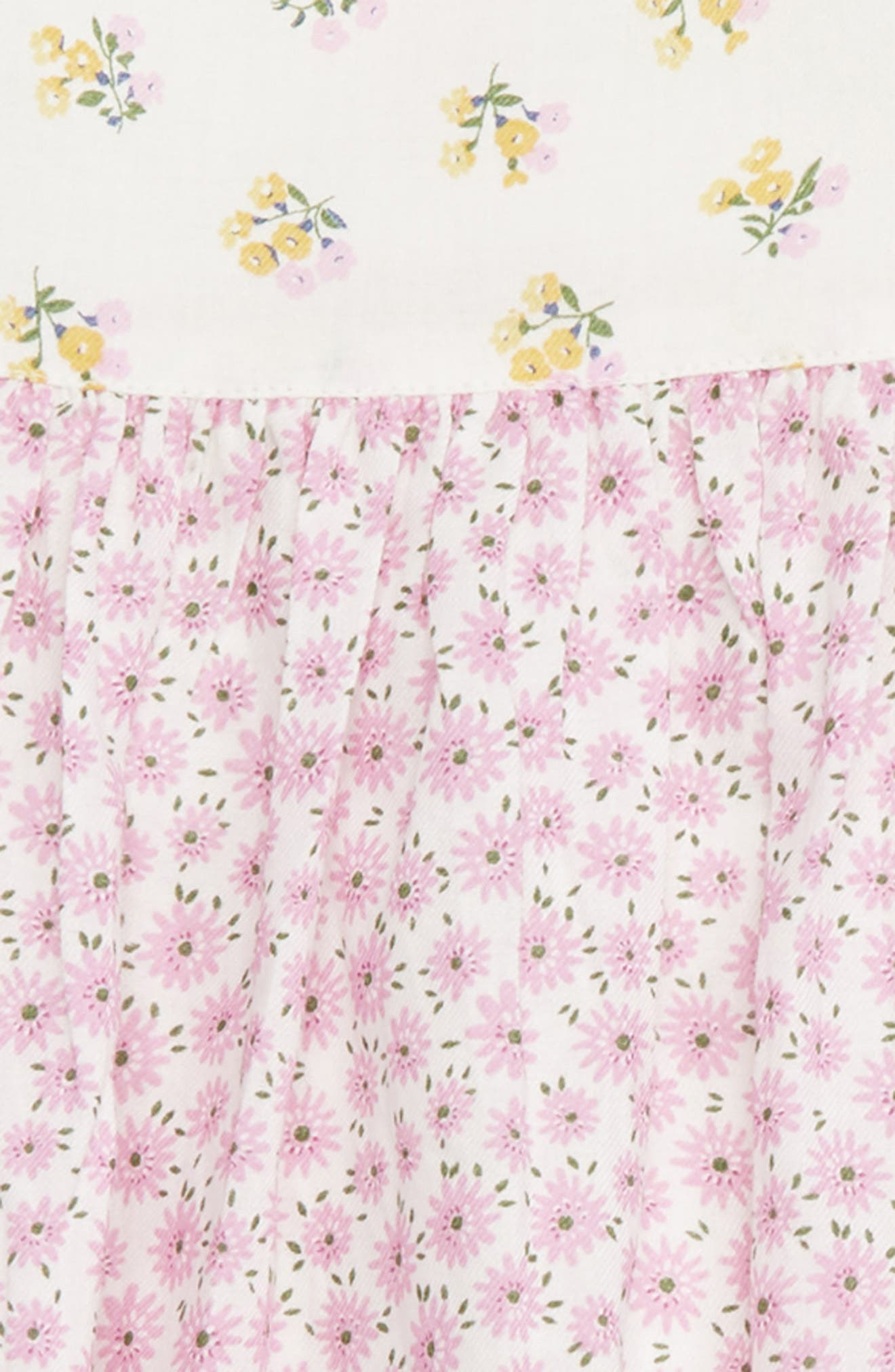 MINI BODEN, Mixed Floral Print Woven Dress, Alternate thumbnail 3, color, PRP LILAC PINK BLOSSOM