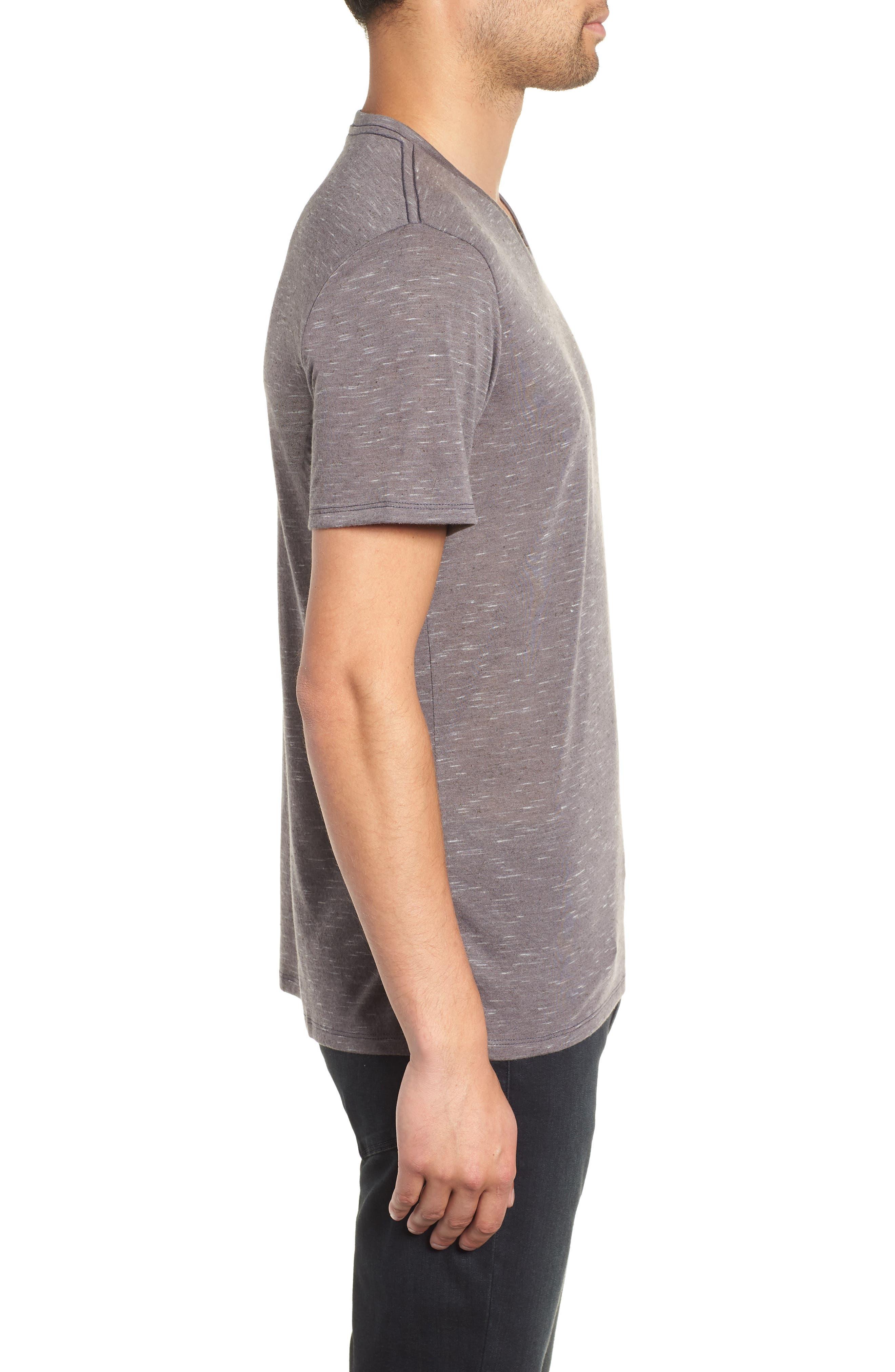 THE RAIL, Streaky V-Neck T-Shirt, Alternate thumbnail 3, color, GREY TORNADO- WHITE