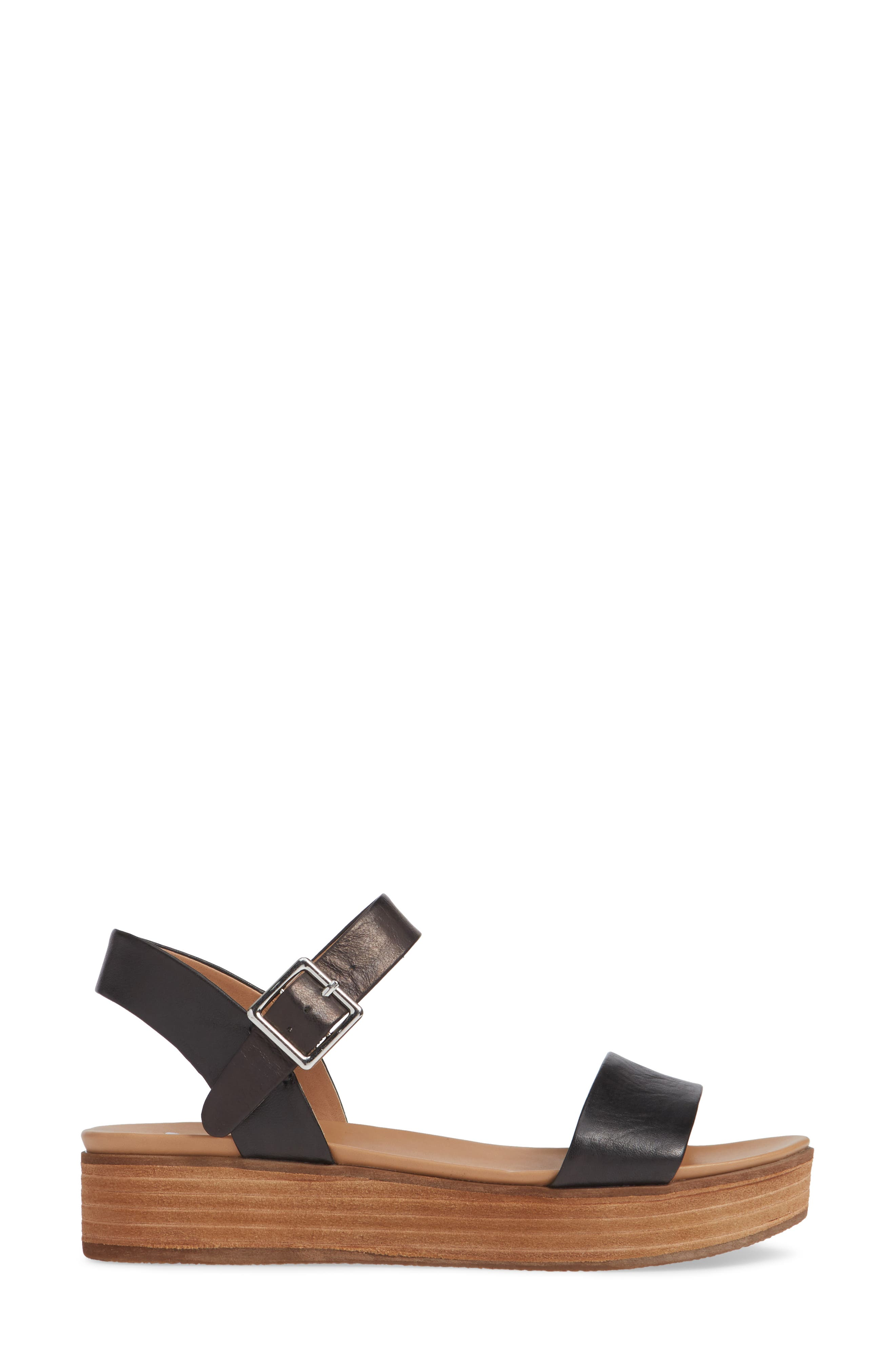 STEVE MADDEN, Aida Platform Sandal, Alternate thumbnail 3, color, BLACK LEATHER