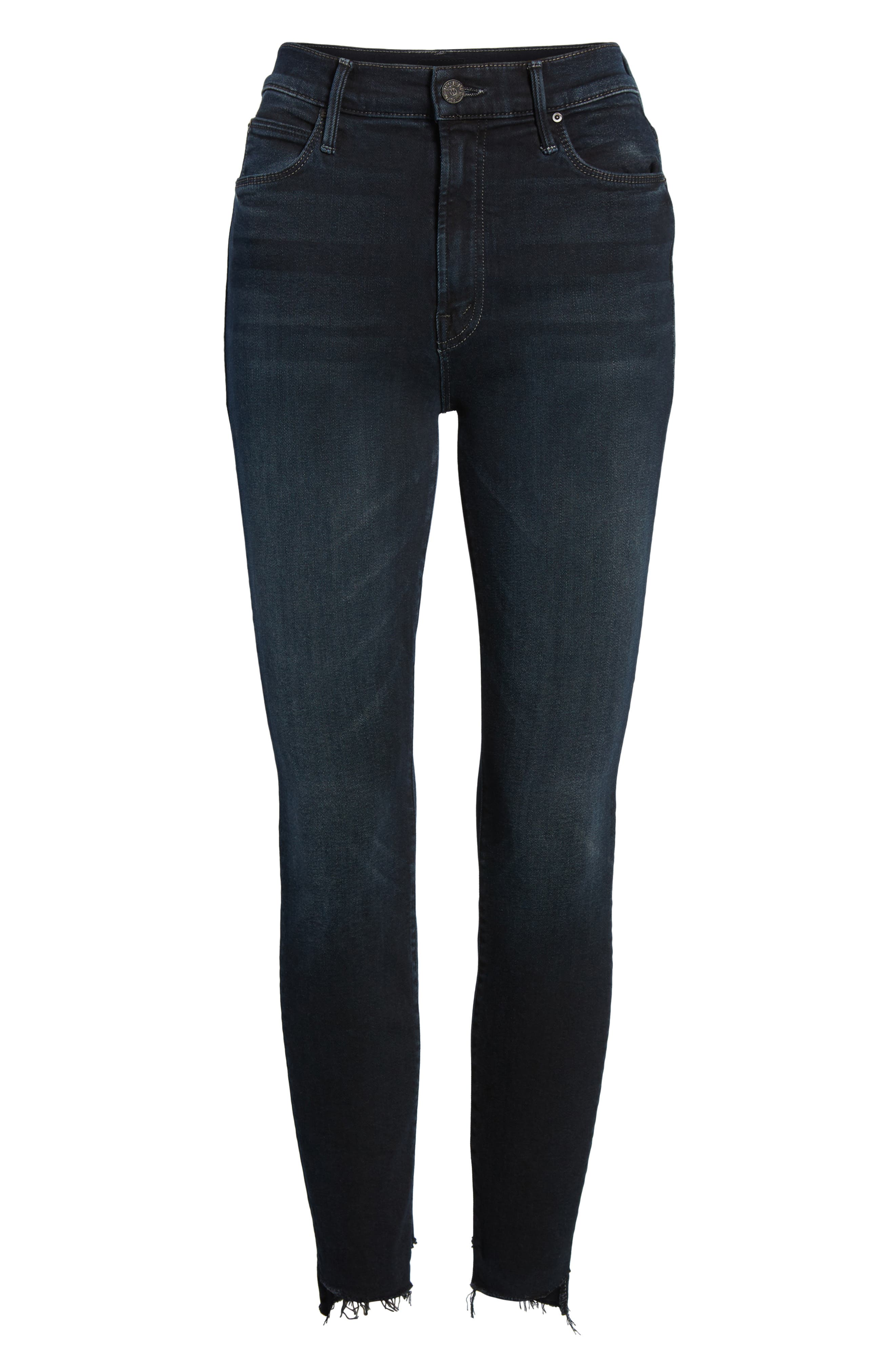 MOTHER, The Stunner High Waist Fray Ankle Skinny Jeans, Alternate thumbnail 7, color, LAST CALL