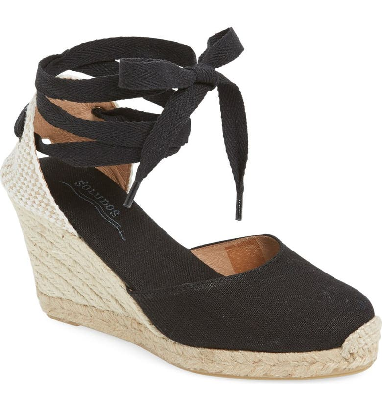 SOLUDOS Wedge Lace-Up Espadrille Sandal, Main, color, BLACK