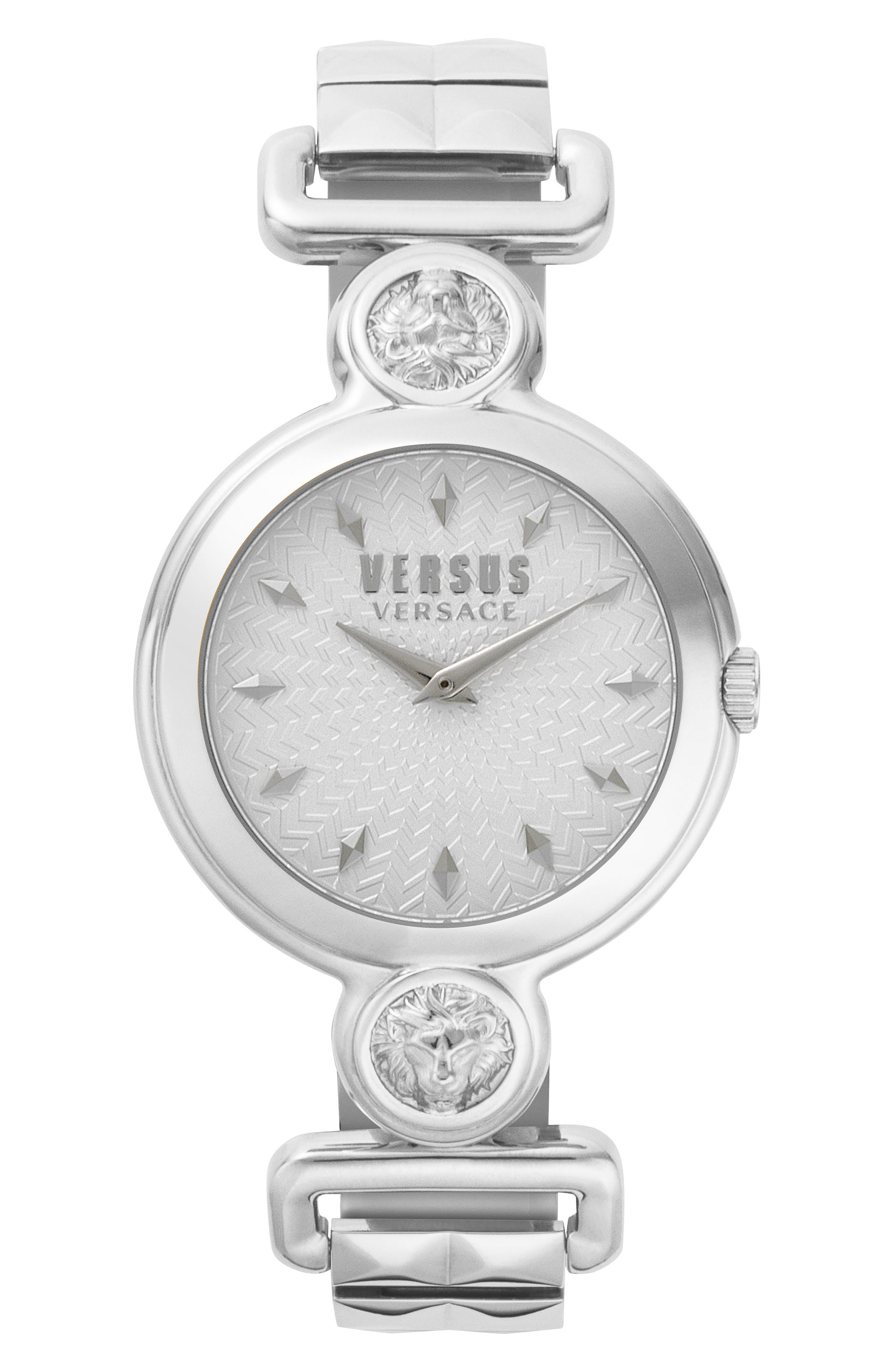 VERSUS VERSACE, Sunnyridge Bracelet Watch, 34mm, Main thumbnail 1, color, SILVER