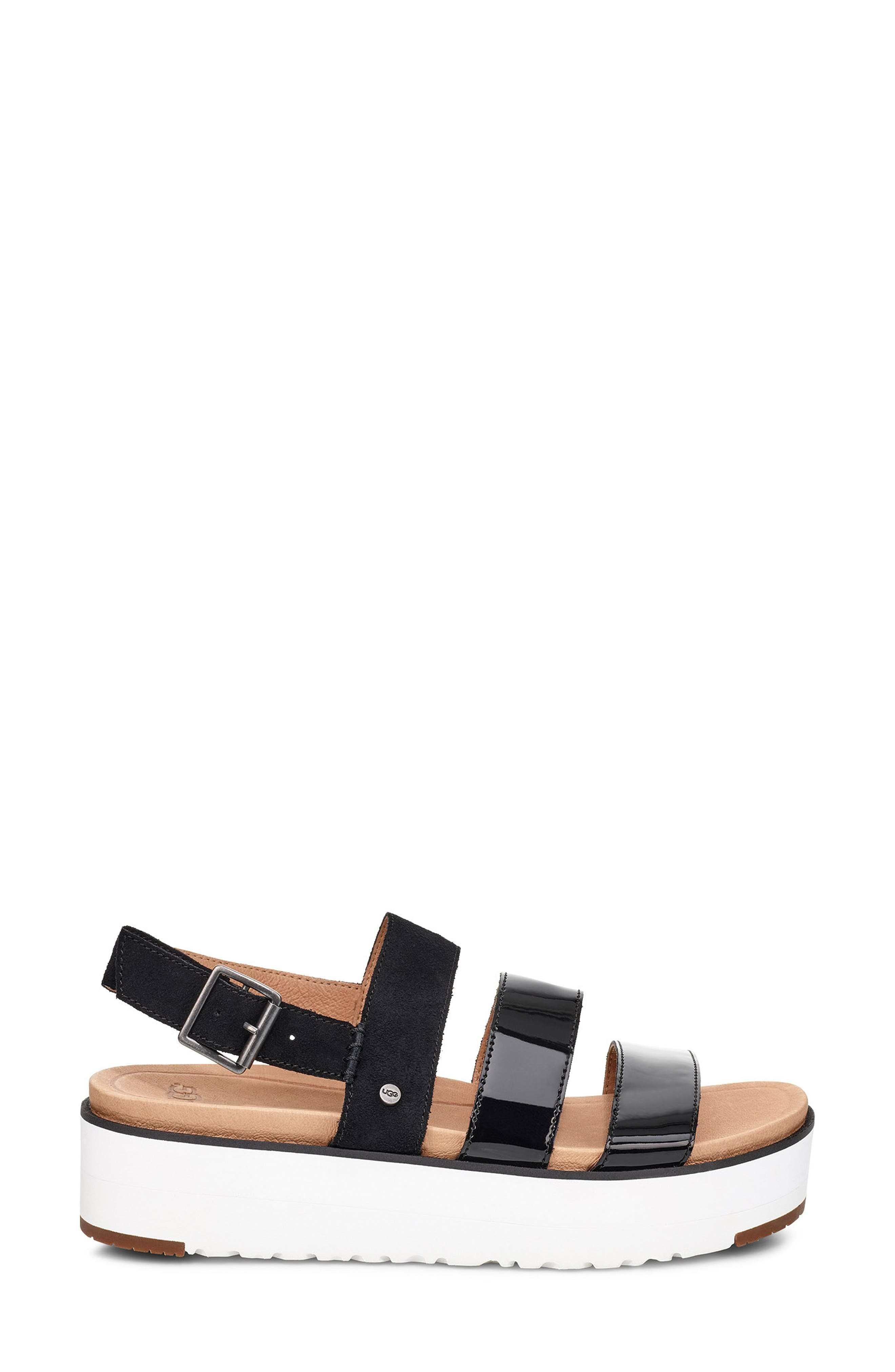 UGG<SUP>®</SUP>, Braelynn Flatform Sandal, Alternate thumbnail 3, color, BLACK LEATHER