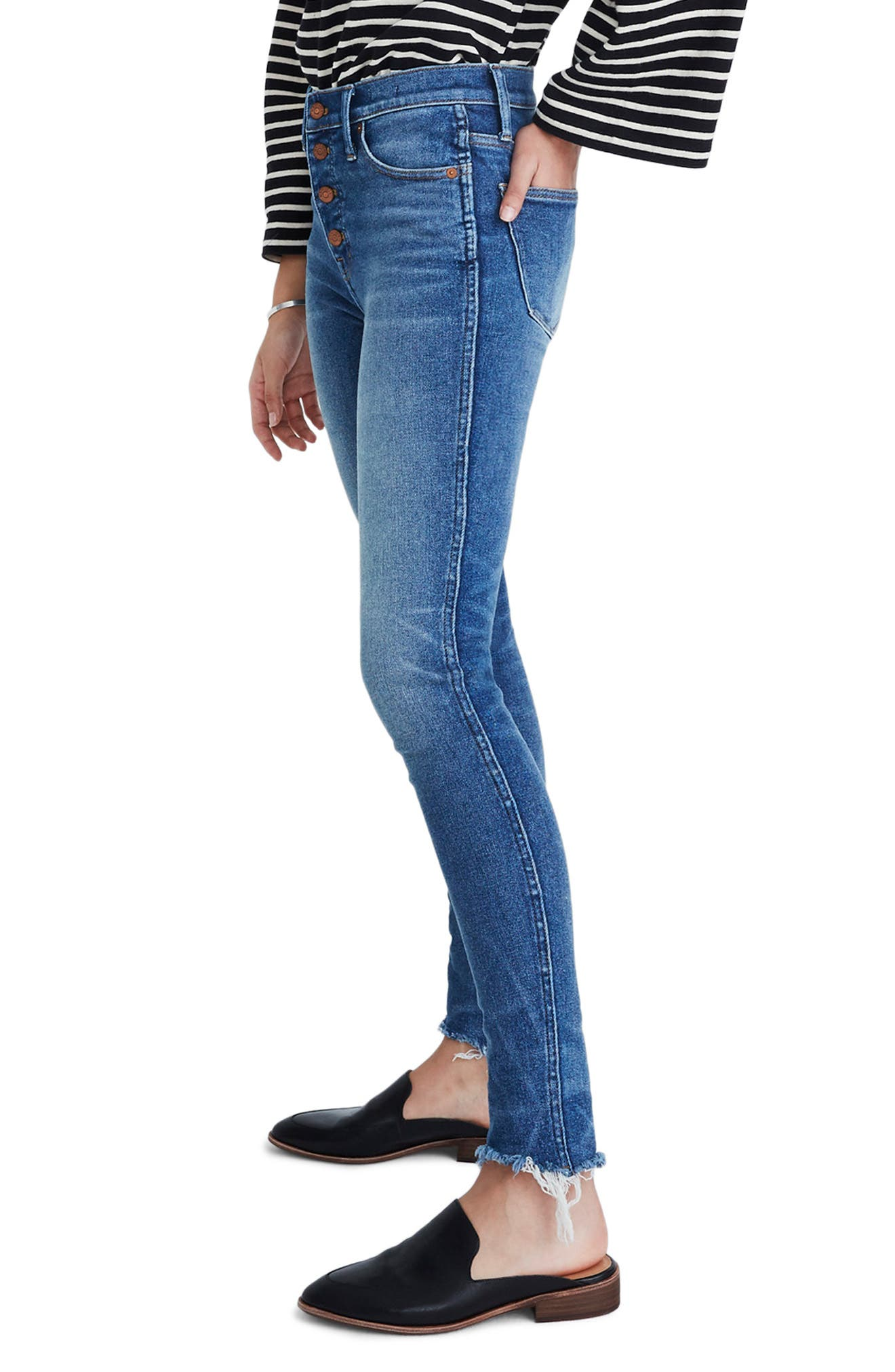 MADEWELL, 10-Inch High Waist Skinny Jeans, Alternate thumbnail 5, color, CORDOVA
