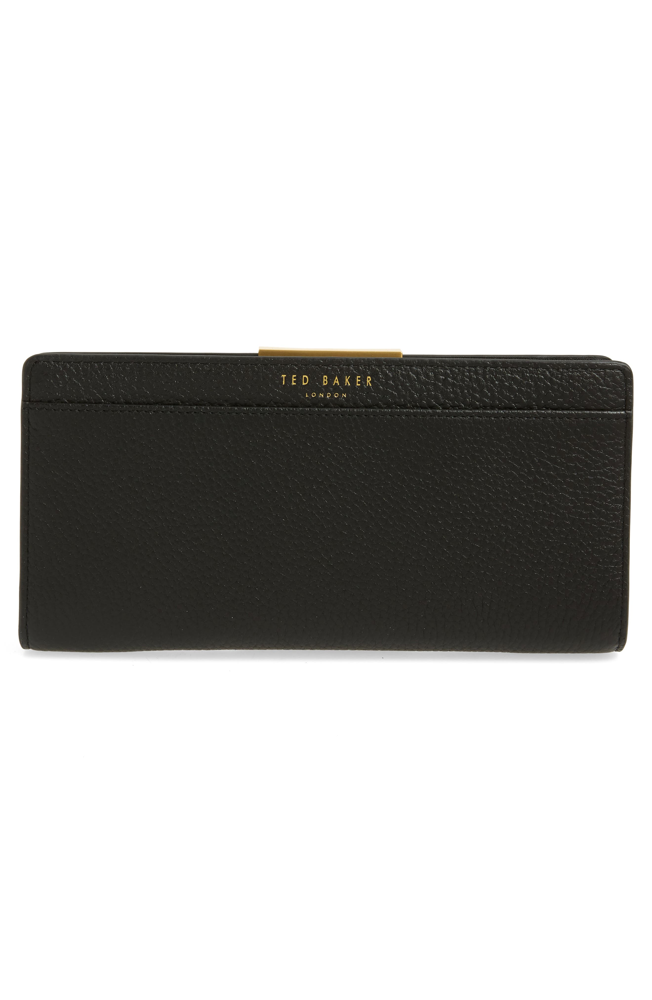 TED BAKER LONDON, Emblyn Leather Matinée Wallet, Alternate thumbnail 3, color, 001