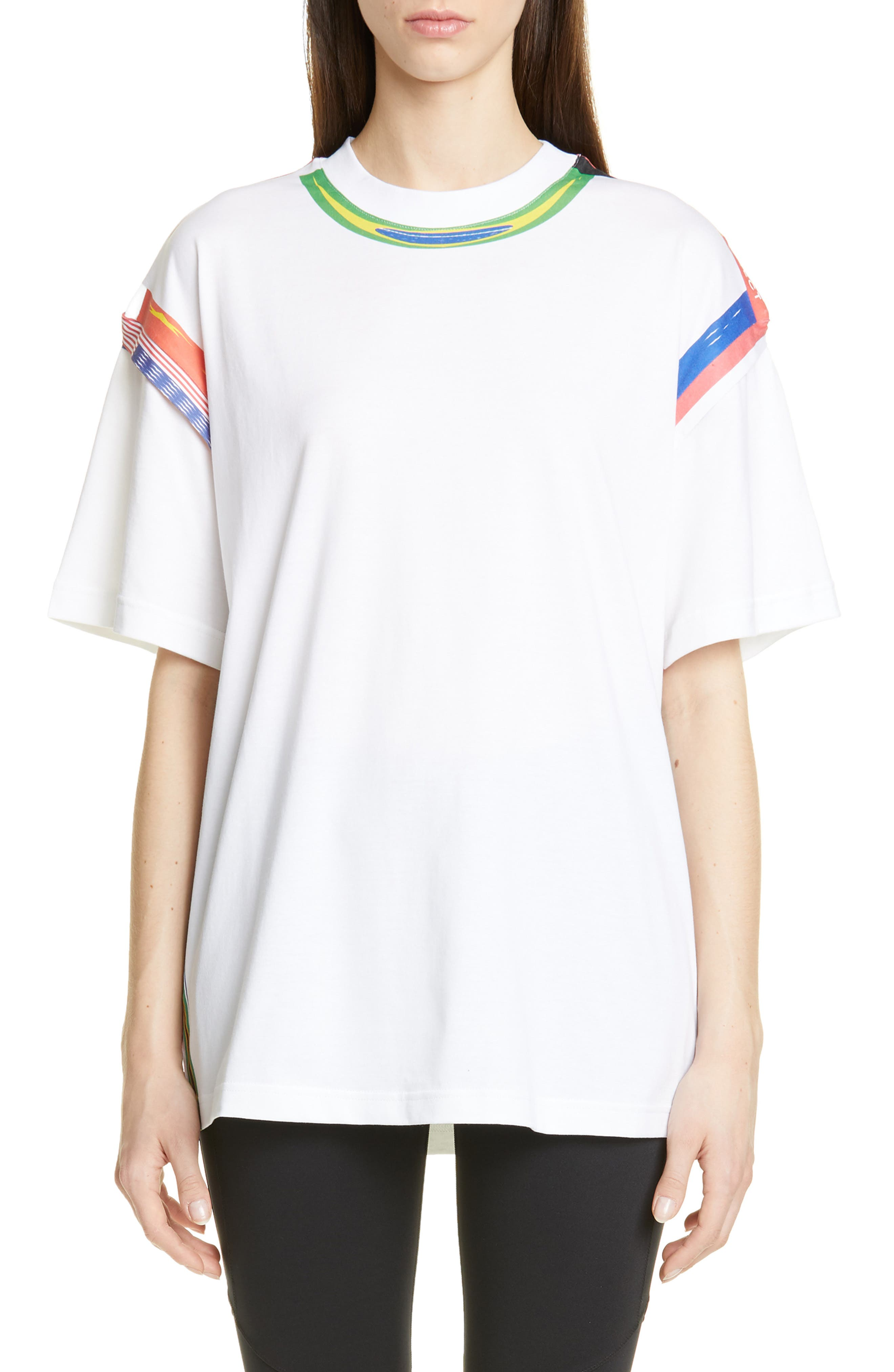 Y/PROJECT Flag Print Tee, Main, color, WHITE