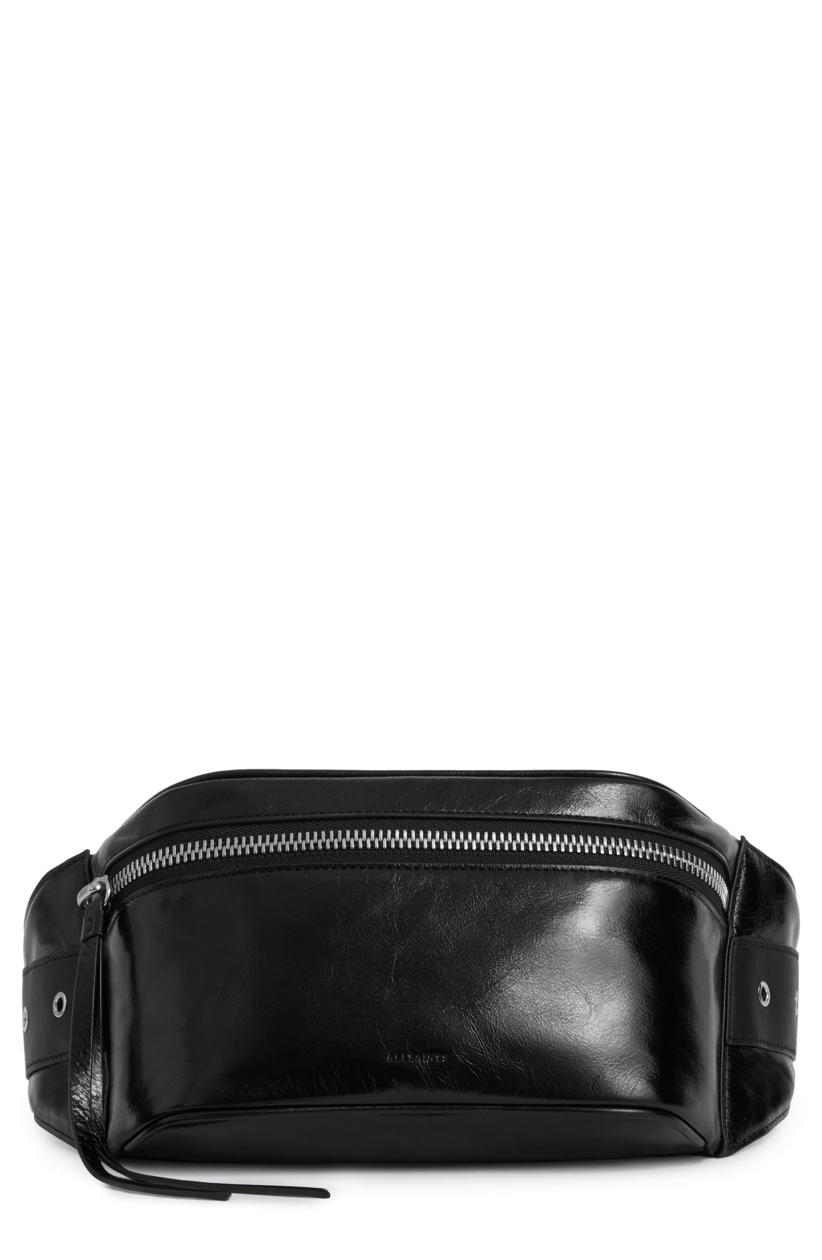 ALLSAINTS, Clip Leather Belt Bag, Main thumbnail 1, color, BLACK