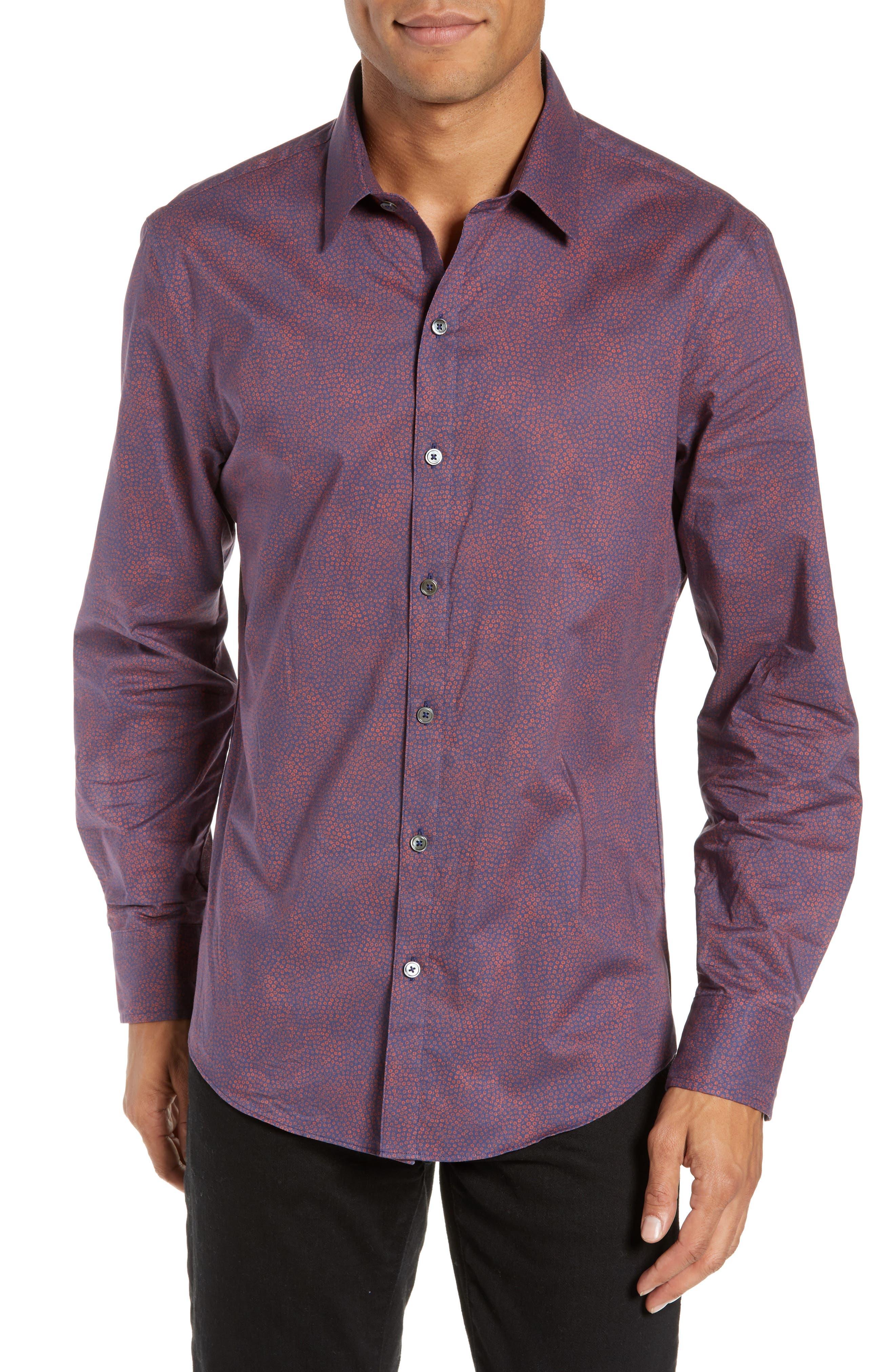 ZACHARY PRELL Maryna Regular Fit Floral Print Sport Shirt, Main, color, ORANGE