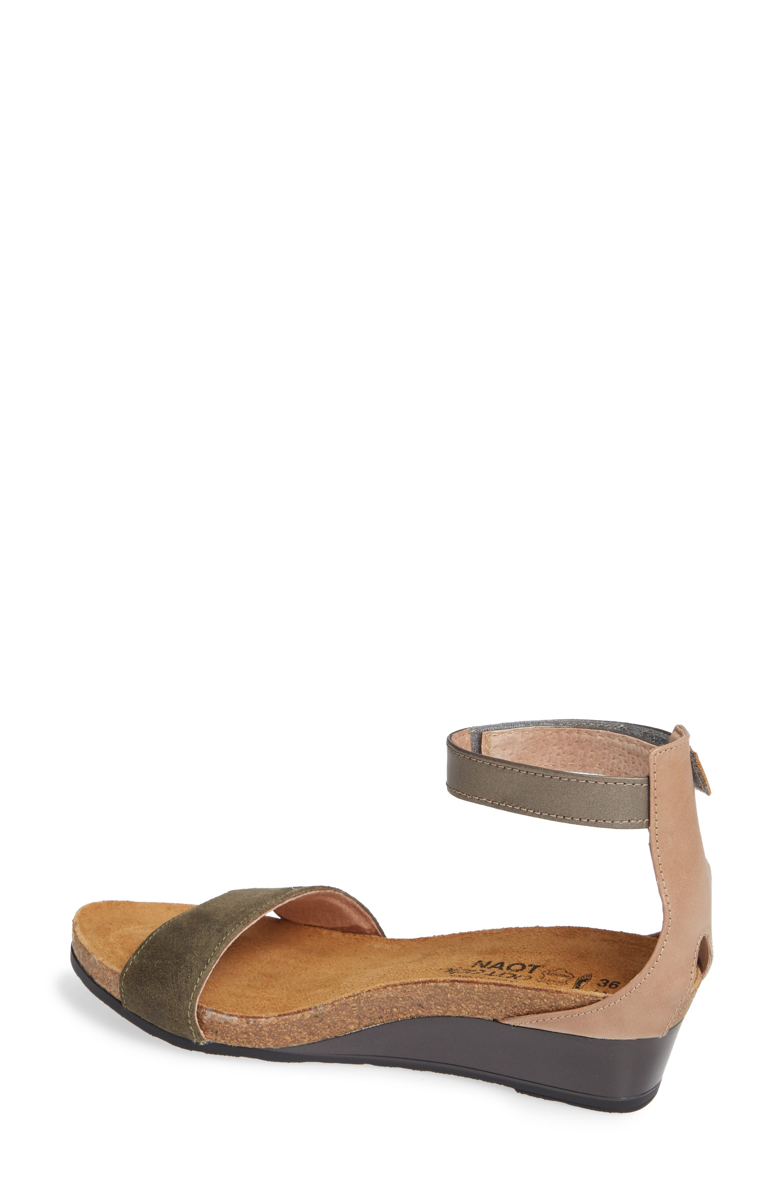 NAOT, 'Pixie' Sandal, Alternate thumbnail 2, color, OLIVE SUEDE/ PEWTER LEATHER