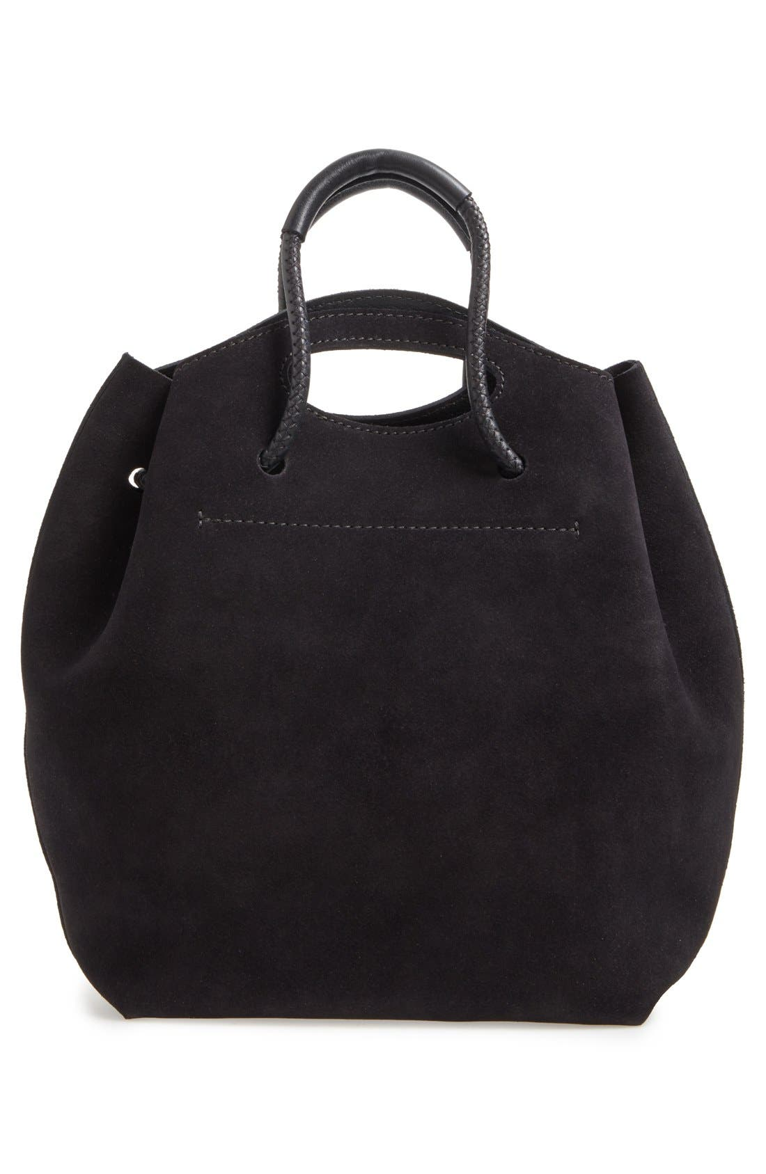 PEDRO GARCIA, Suede Drawstring Bucket Bag, Alternate thumbnail 3, color, 002