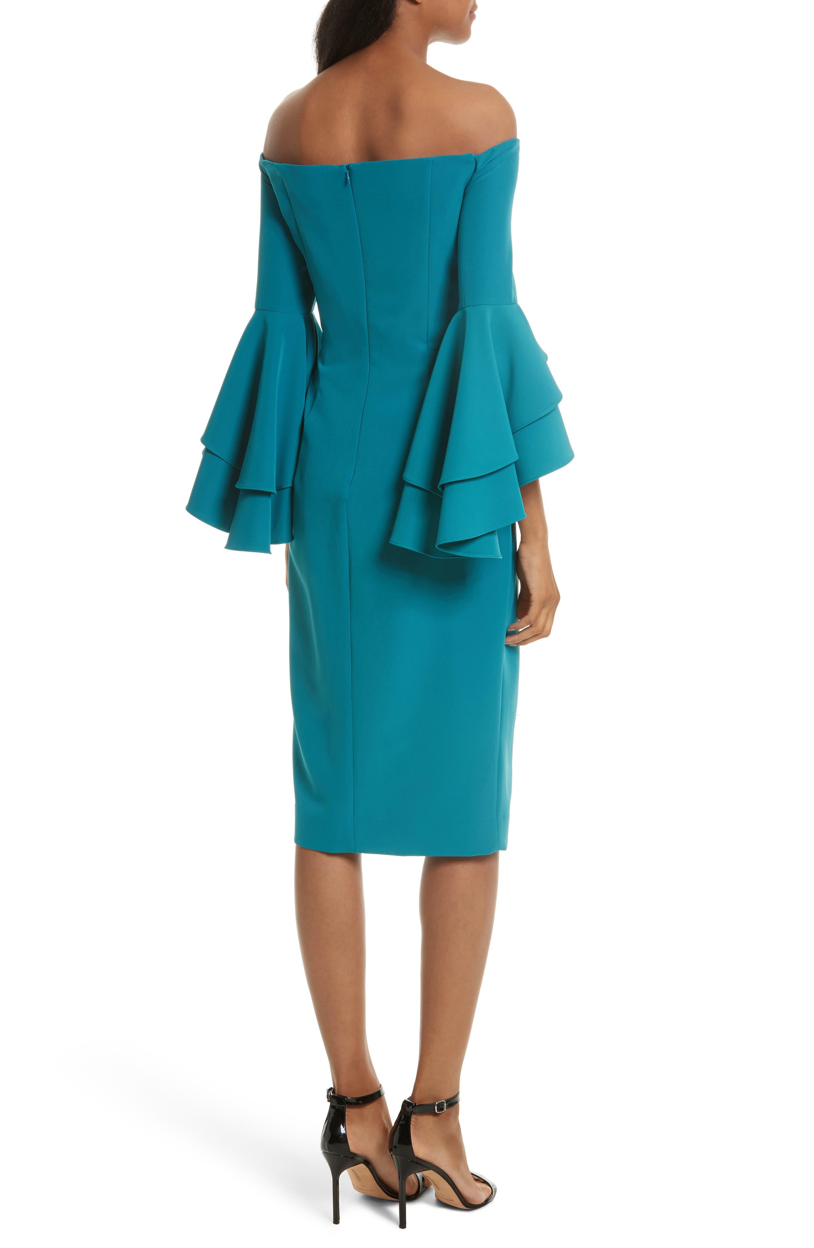 MILLY, Selena Off the Shoulder Midi Dress, Alternate thumbnail 2, color, 442