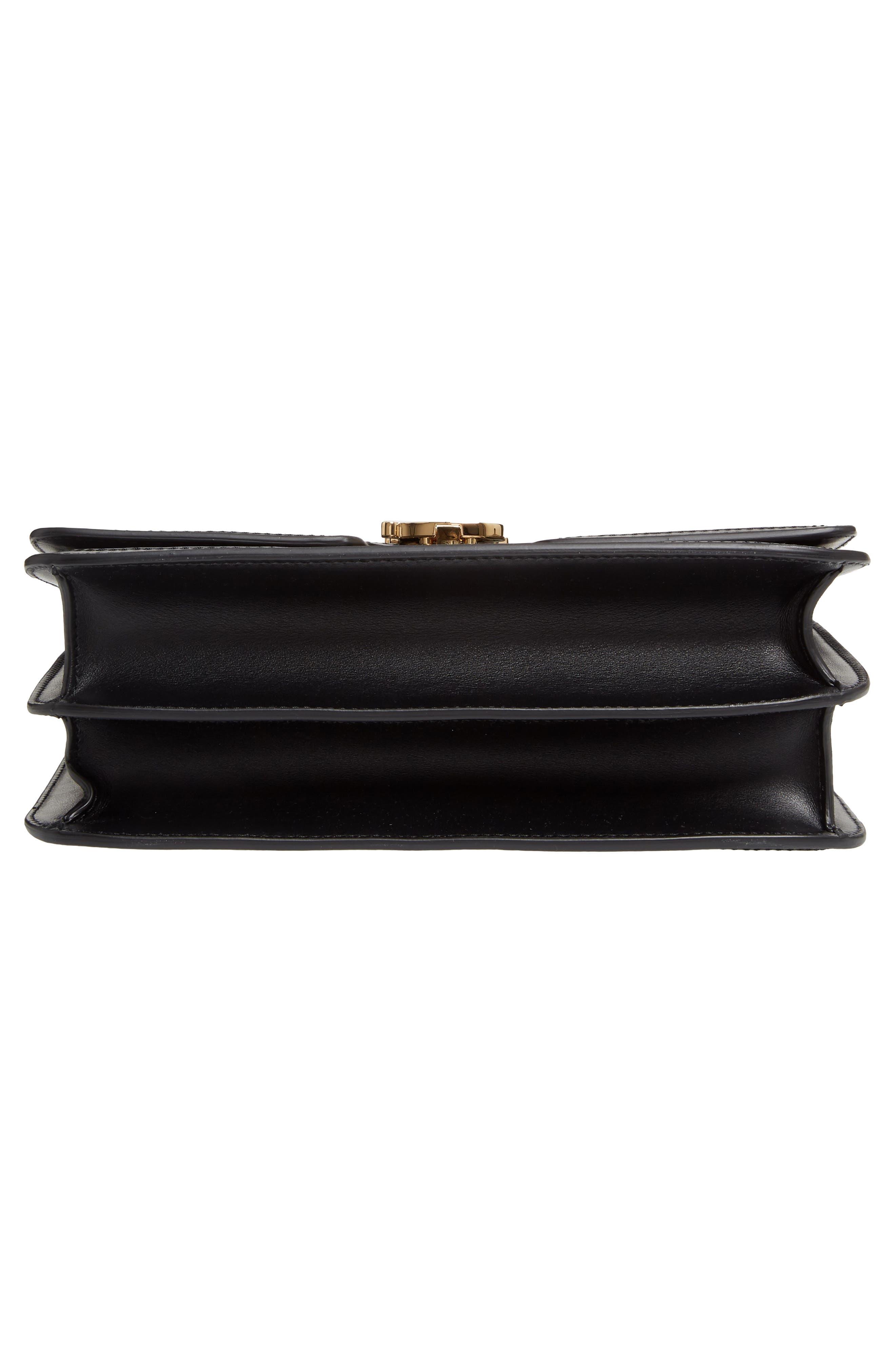 BURBERRY, Medium TB Monogram Leather Bag, Alternate thumbnail 7, color, BLACK
