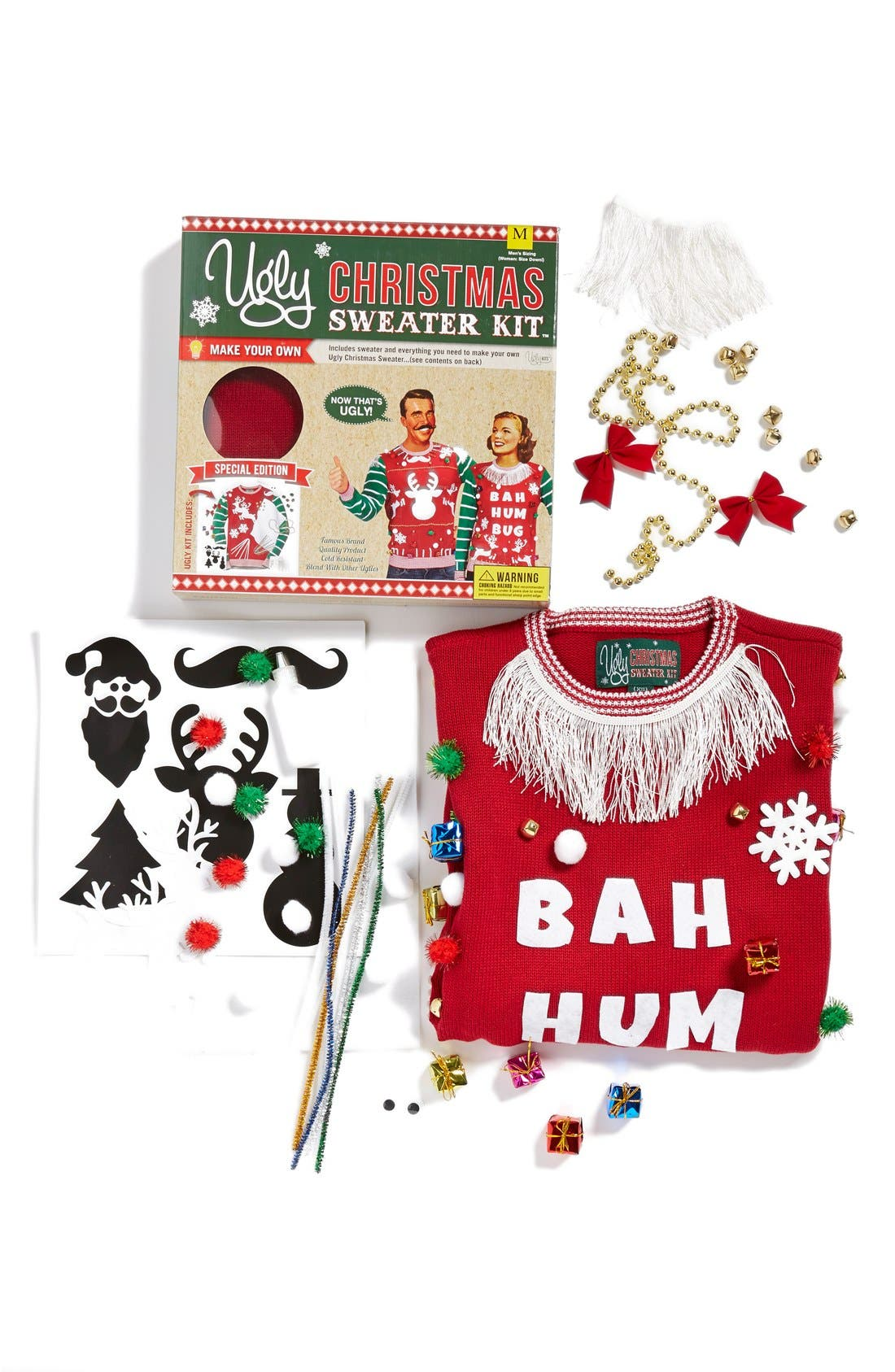 UGLY CHRISTMAS SWEATER, 'Make Your Own - White Stripe' Sweater Kit, Alternate thumbnail 2, color, 610