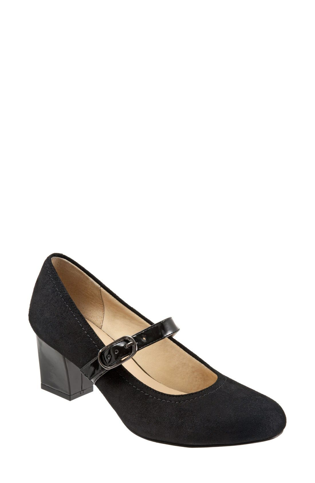 TROTTERS, 'Candice' Mary Jane Pump, Main thumbnail 1, color, BLACK SUEDE