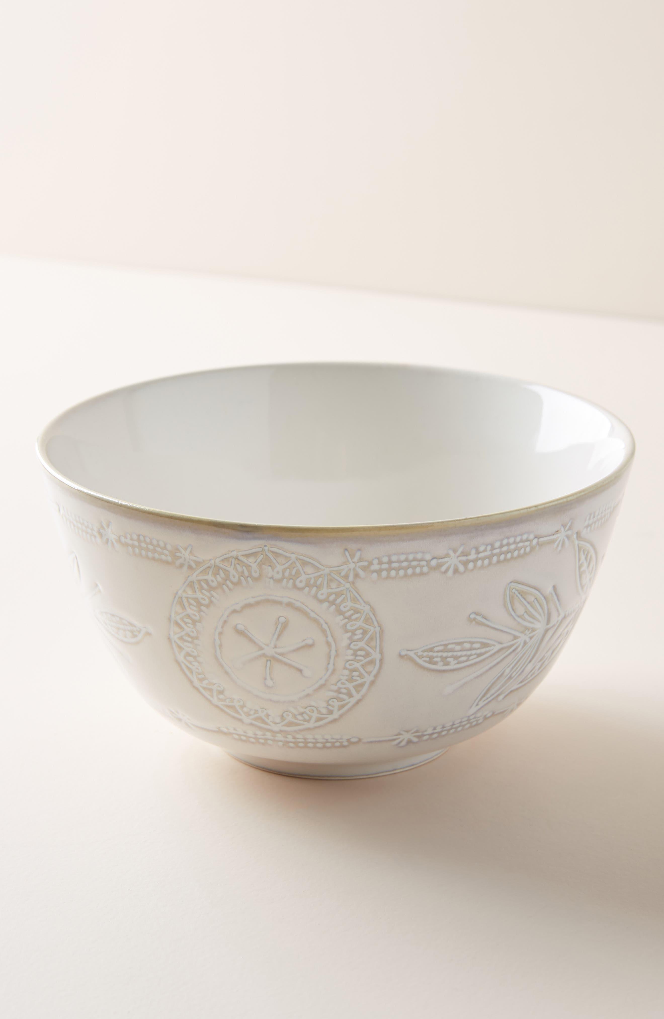 ANTHROPOLOGIE, Uret Stoneware Bowl, Main thumbnail 1, color, WHITE