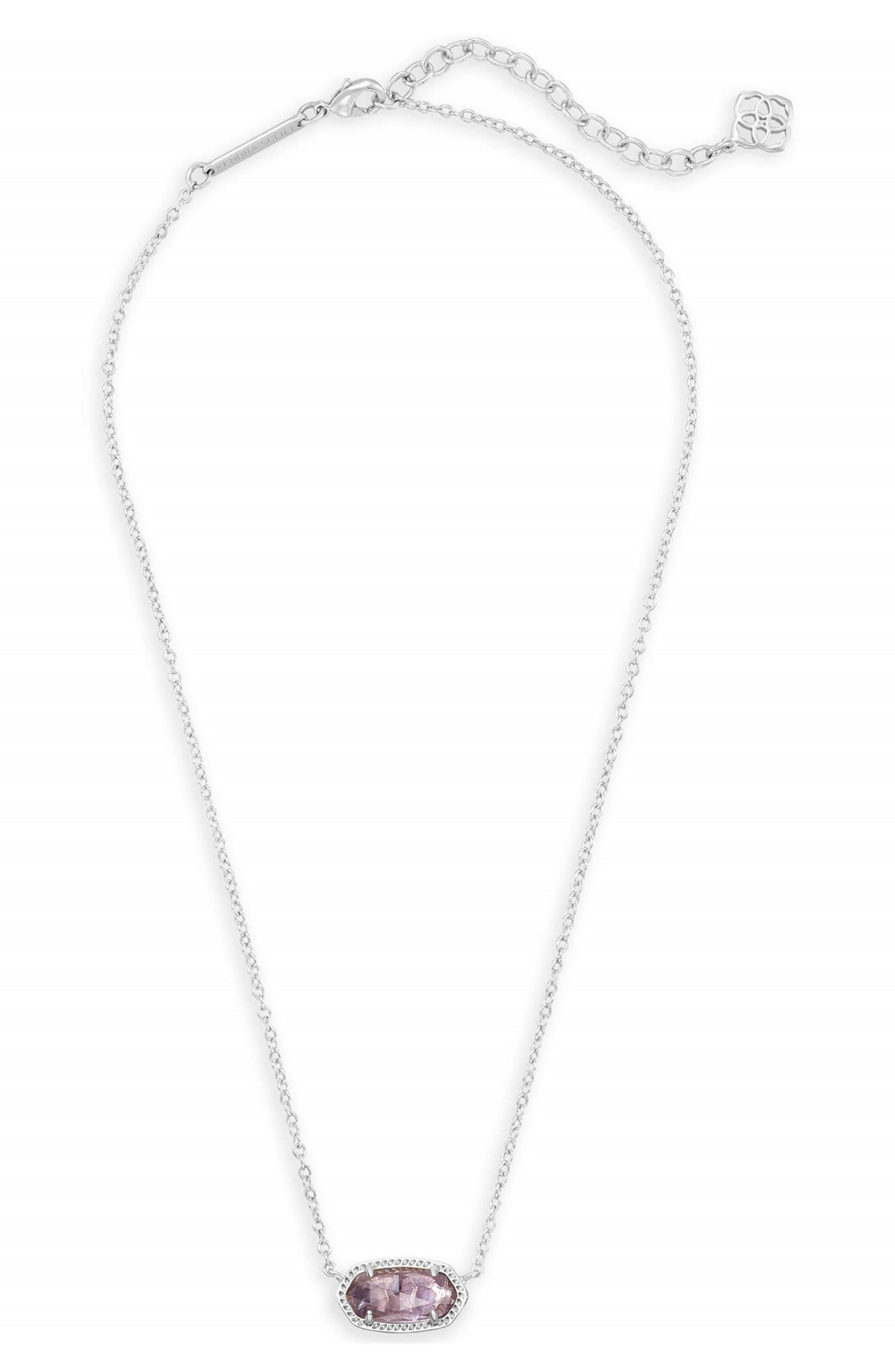 KENDRA SCOTT, Elisa Birthstone Pendant Necklace, Main thumbnail 1, color, FEBRUARY/AMETHYST/SILVER