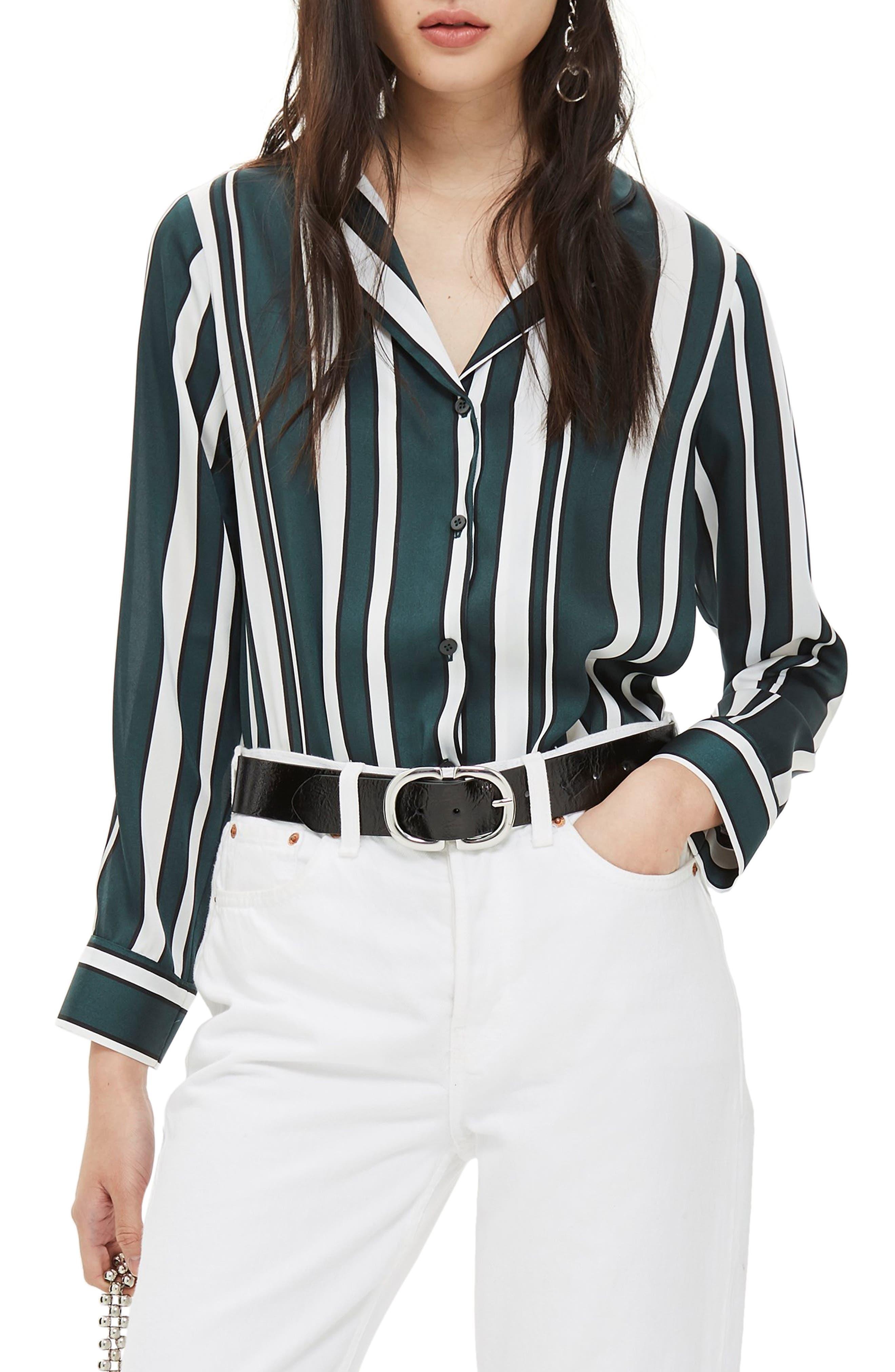TOPSHOP, Stripe PJ Shirt, Main thumbnail 1, color, GREEN MULTI