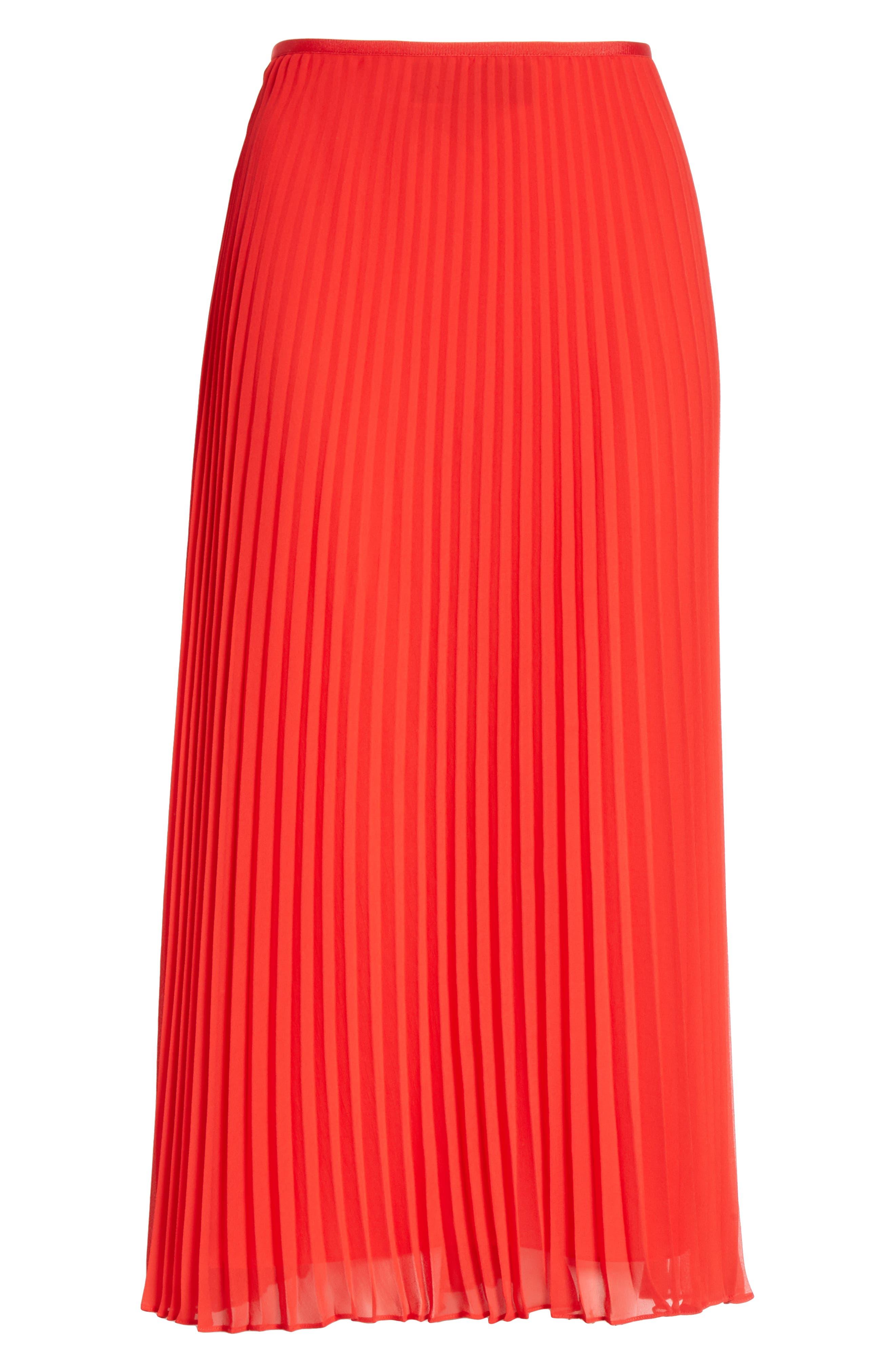 POLO RALPH LAUREN, Pleat Midi Skirt, Alternate thumbnail 6, color, PANDORA RED