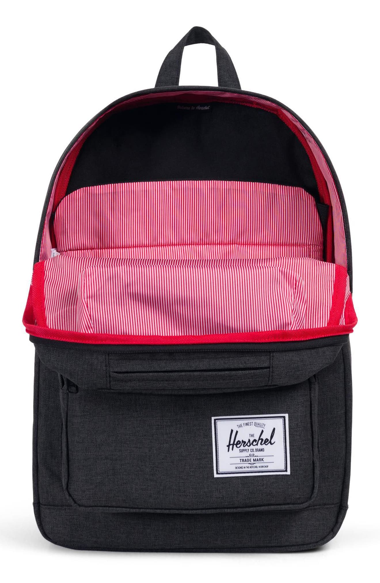 HERSCHEL SUPPLY CO., Pop Quiz Backpack, Alternate thumbnail 5, color, BLACK CROSSHATCH/ BLACK RUBBER