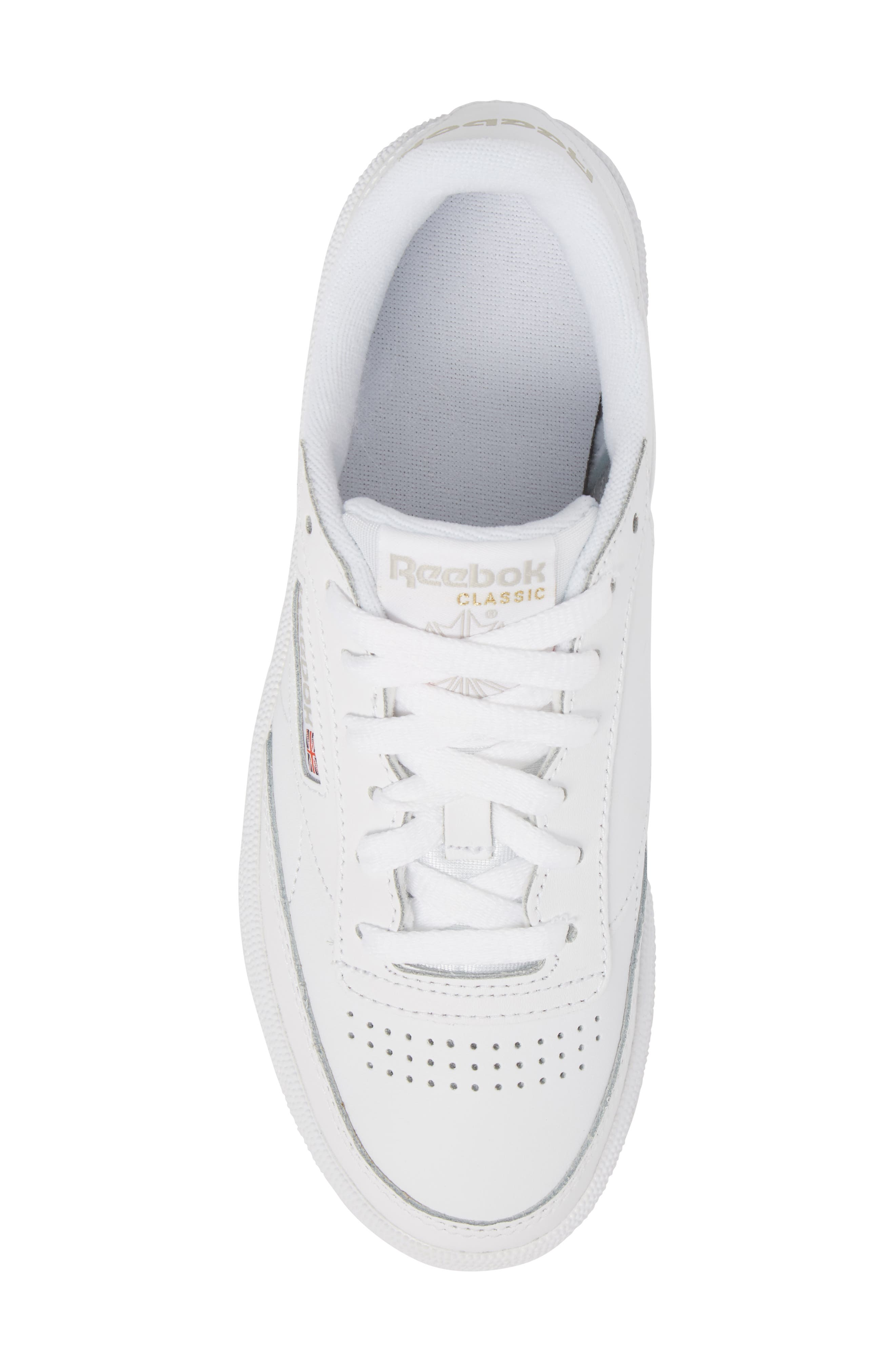 REEBOK, Club C 85 Sneaker, Alternate thumbnail 5, color, WHITE/ LIGHT GREY/ GUM