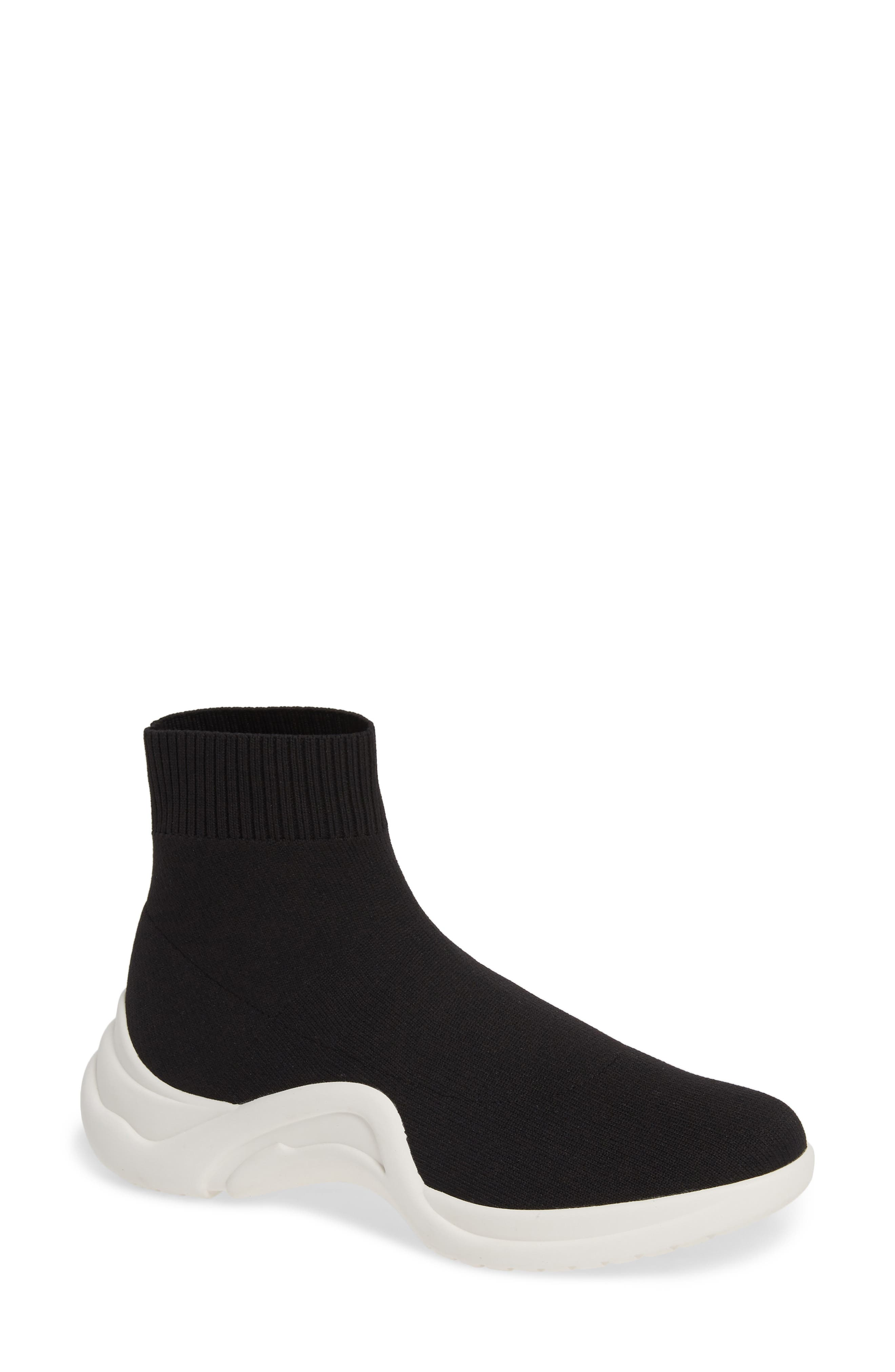 LINEA PAOLO, Gale Sneaker, Main thumbnail 1, color, BLACK KNIT FABRIC