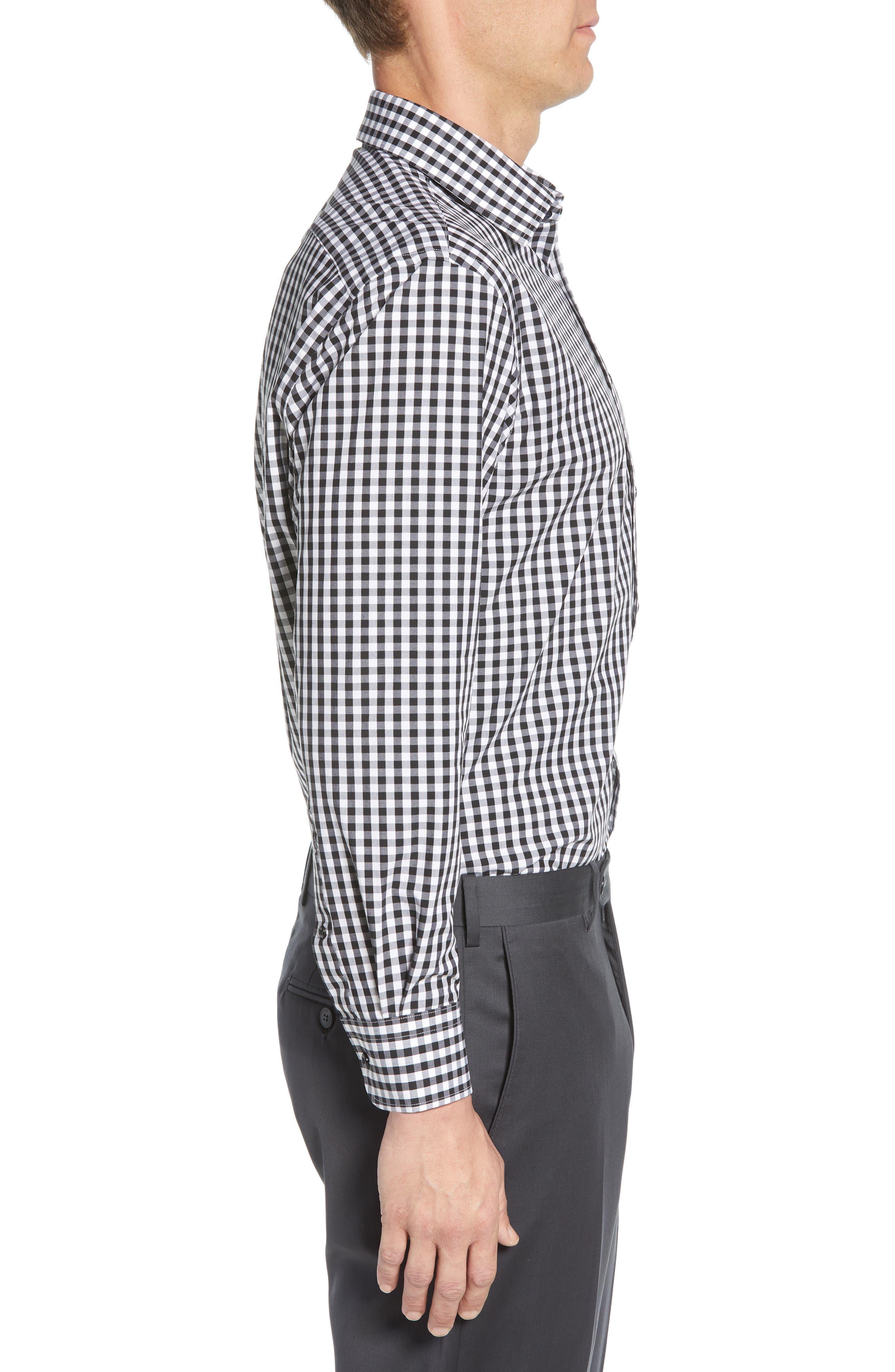 NORDSTROM MEN'S SHOP, Tech-Smart Traditional Fit Stretch Check Dress Shirt, Alternate thumbnail 4, color, BLACK ROCK