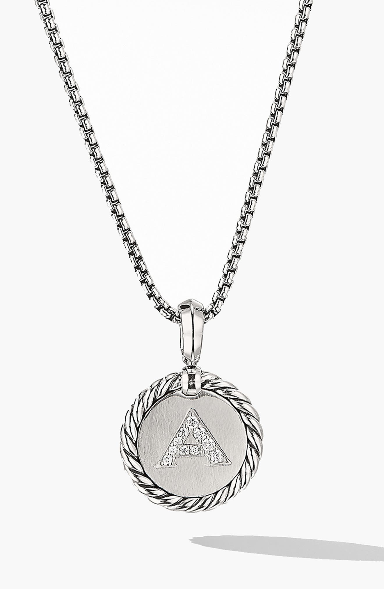 DAVID YURMAN, Initial Charm Necklace with Diamonds, Main thumbnail 1, color, SILVER/ DIAMOND-A