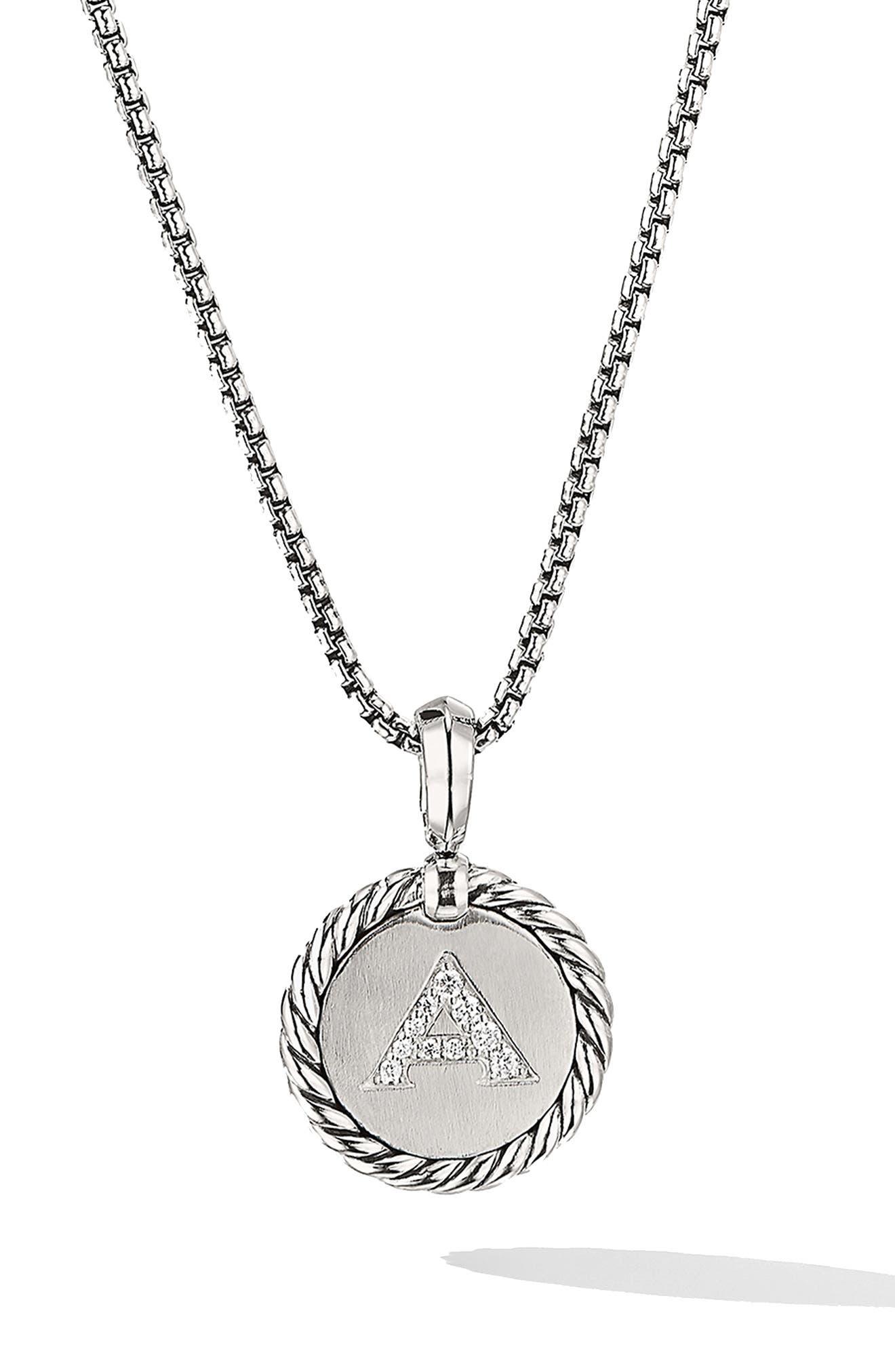DAVID YURMAN Initial Charm Necklace with Diamonds, Main, color, SILVER/ DIAMOND-A
