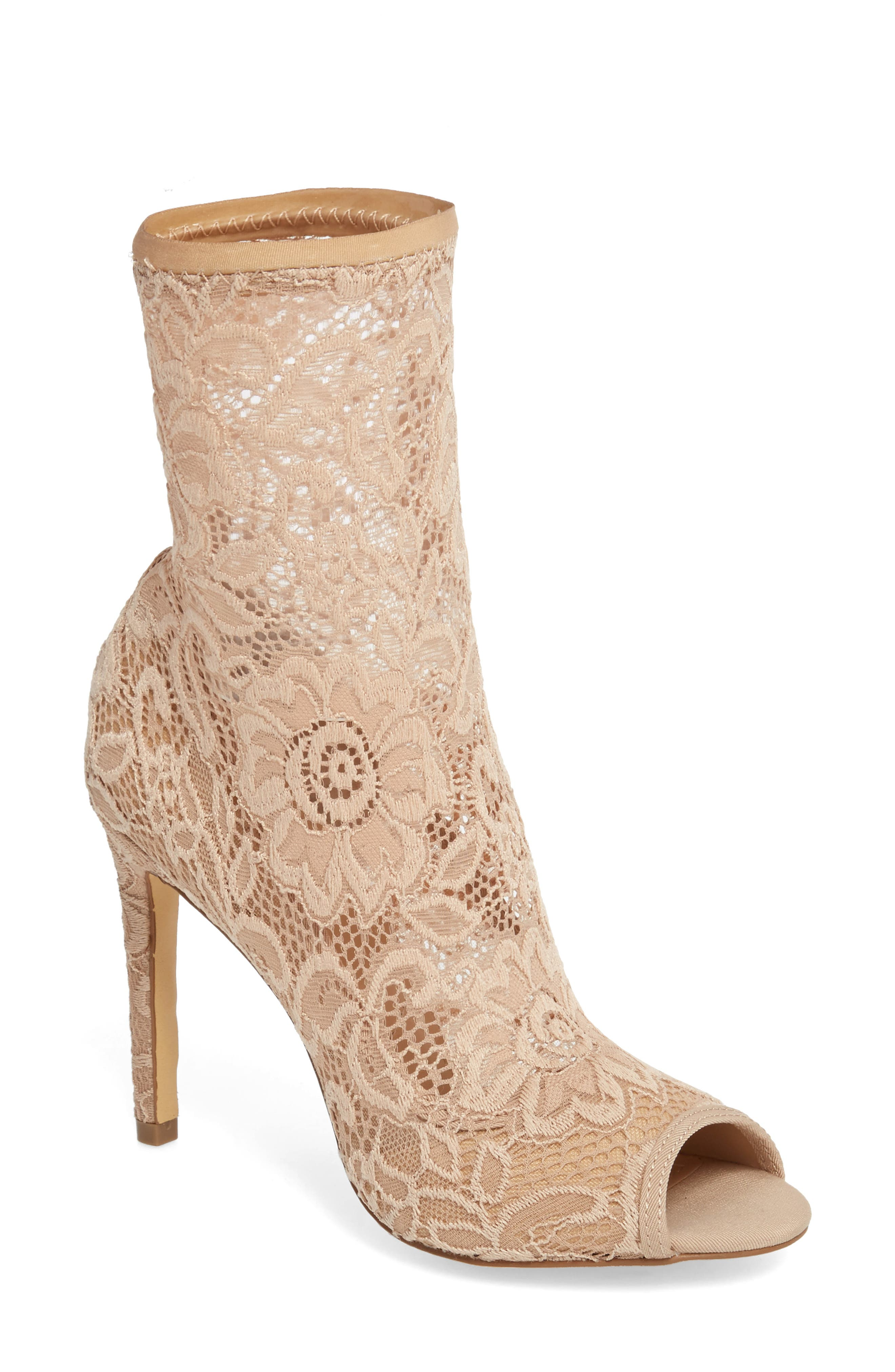 CHARLES BY CHARLES DAVID, Imaginary Lace Sock Bootie, Main thumbnail 1, color, NUDE FABRIC