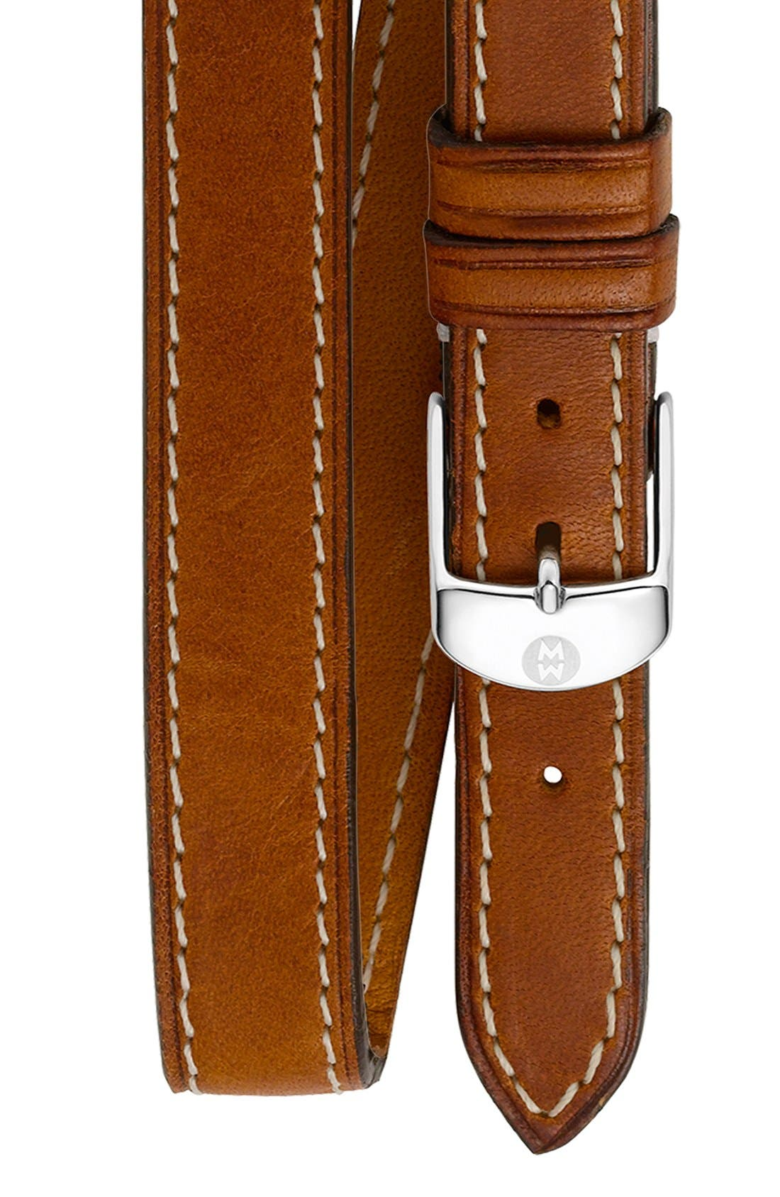 MICHELE, 16mm Leather Double Wrap Watch Strap, Main thumbnail 1, color, LIGHT BROWN