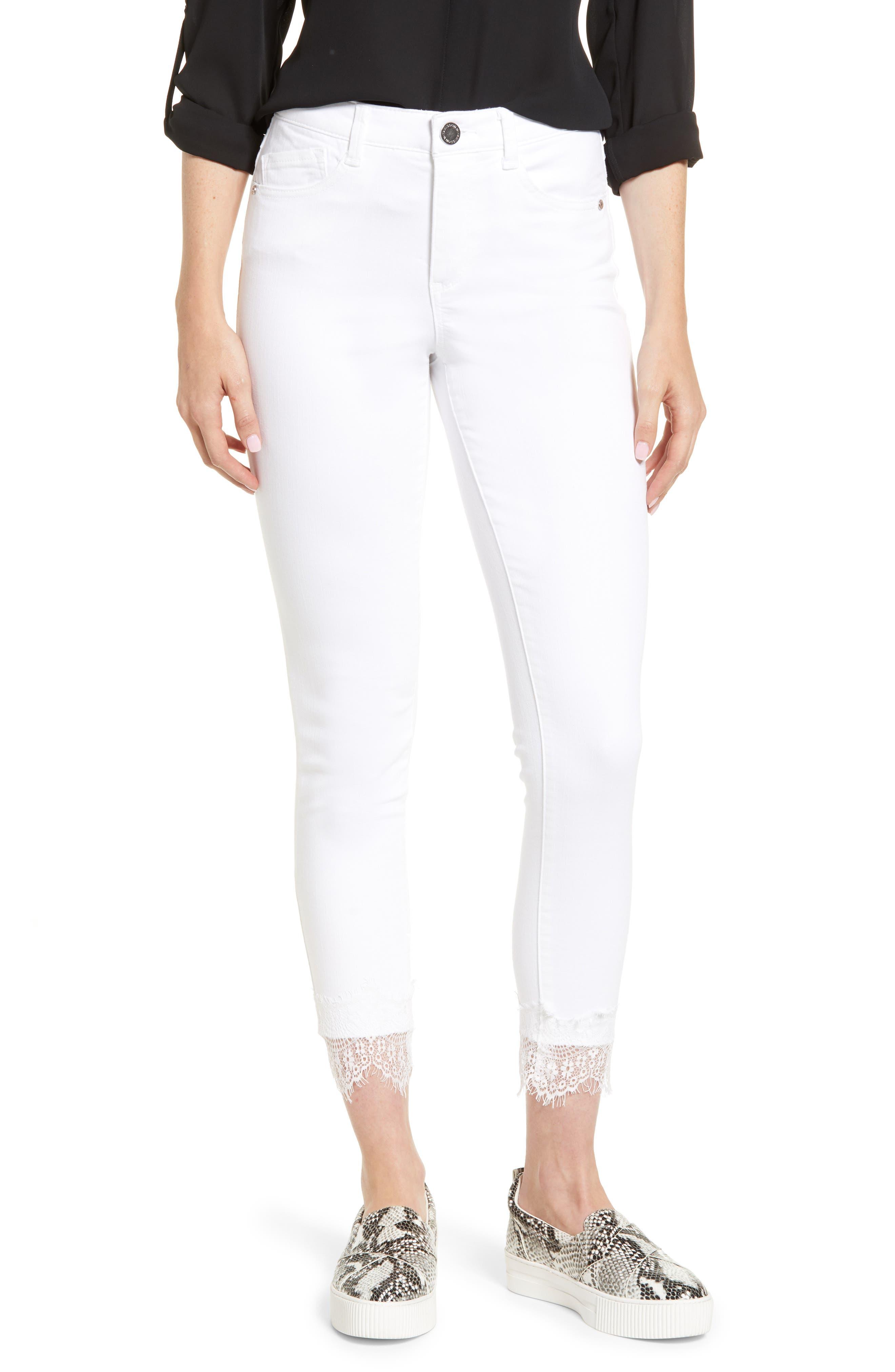 WIT & WISDOM, Ab-Solution Lace Hem High Waist Jeans, Main thumbnail 1, color, OPTIC WHITE