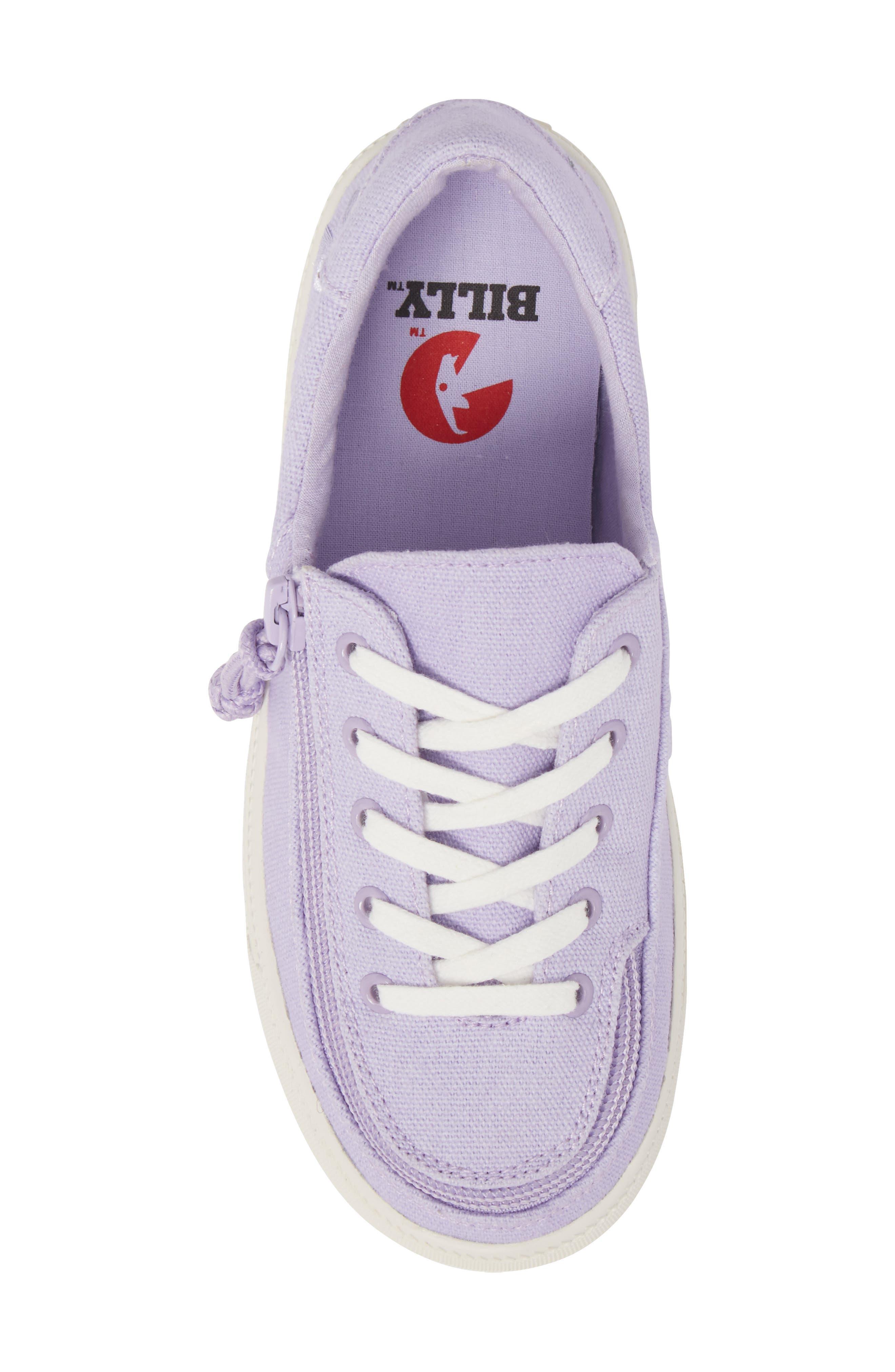 BILLY FOOTWEAR, Classic Zip Around Low Top Sneaker, Alternate thumbnail 6, color, LAVENDER