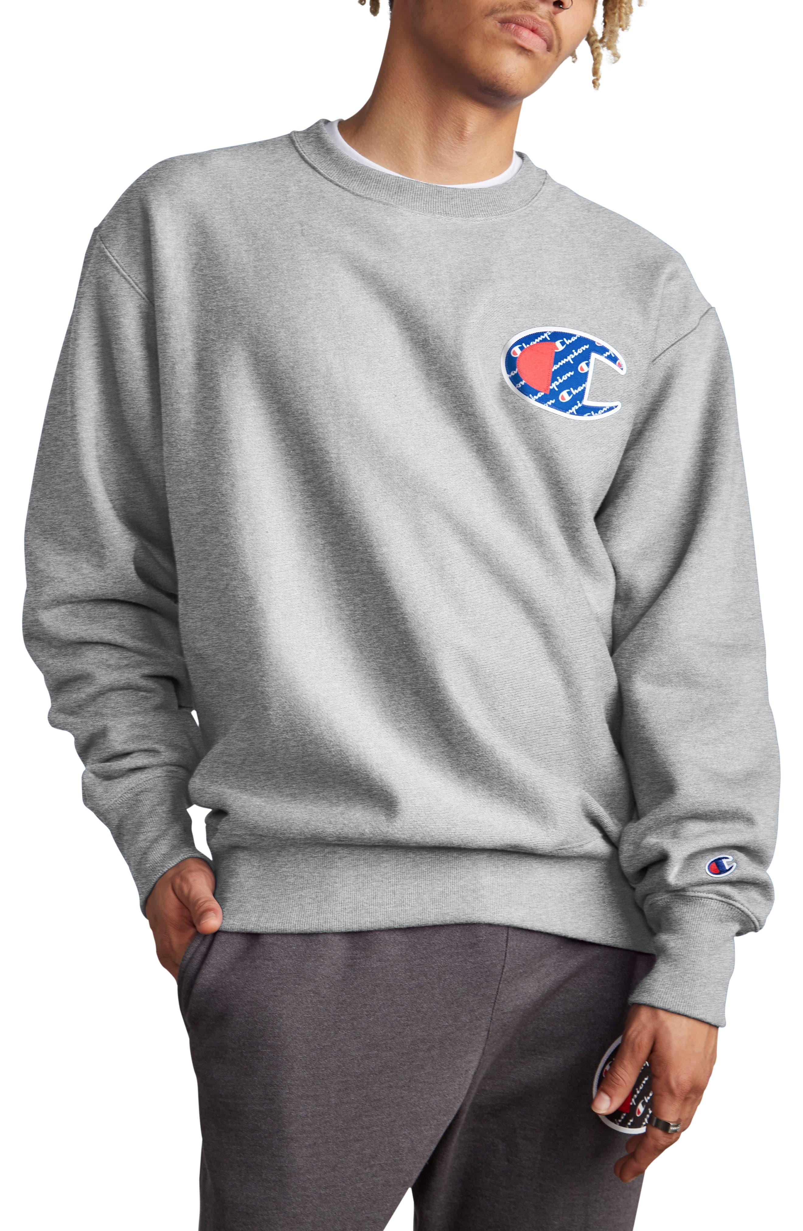 CHAMPION, Sublimated Logo Crewneck Sweatshirt, Main thumbnail 1, color, OXFORD GREY