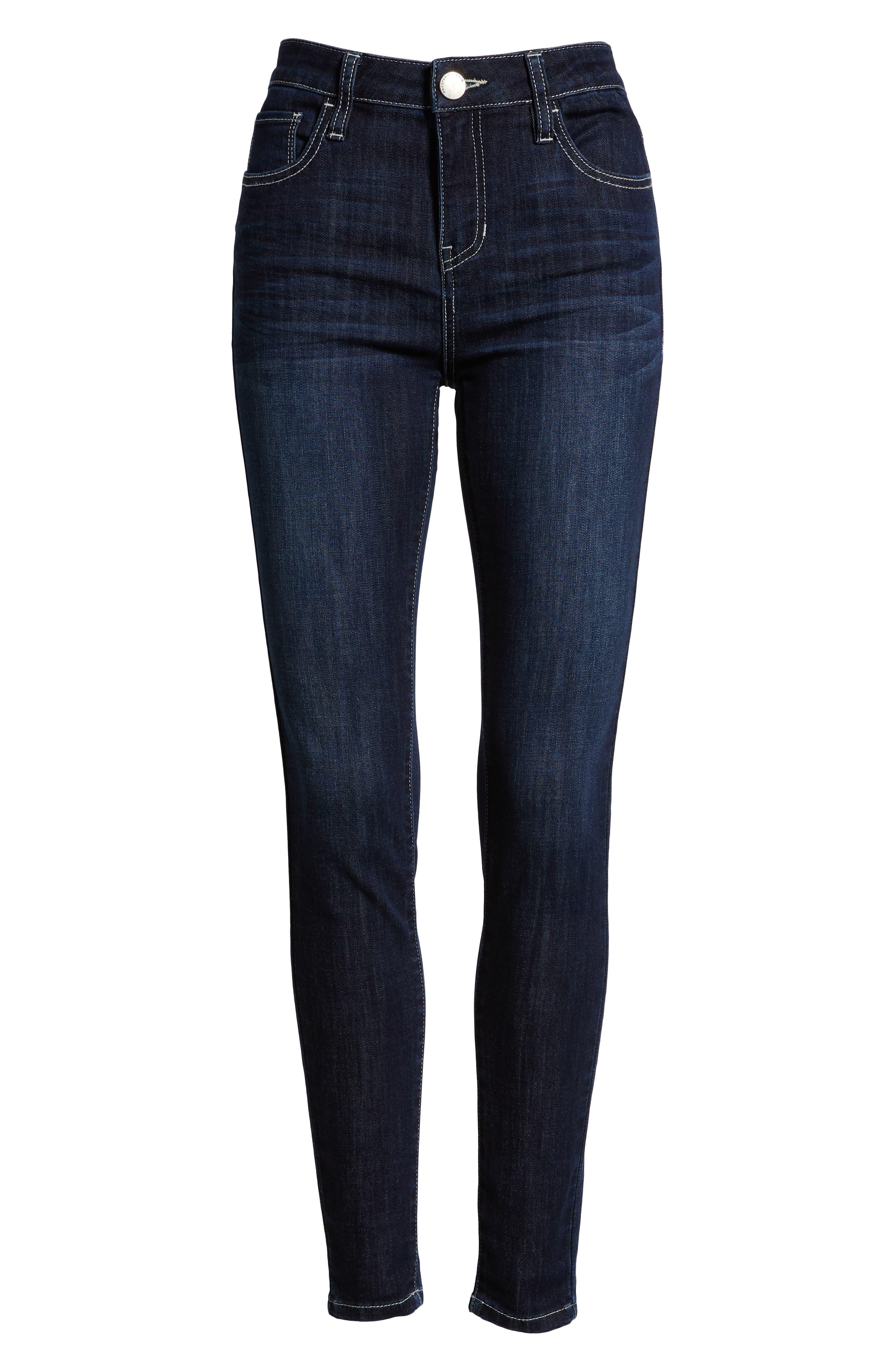 PROSPERITY DENIM, Contrast Stitch Skinny Jeans, Alternate thumbnail 6, color, DARK WASH