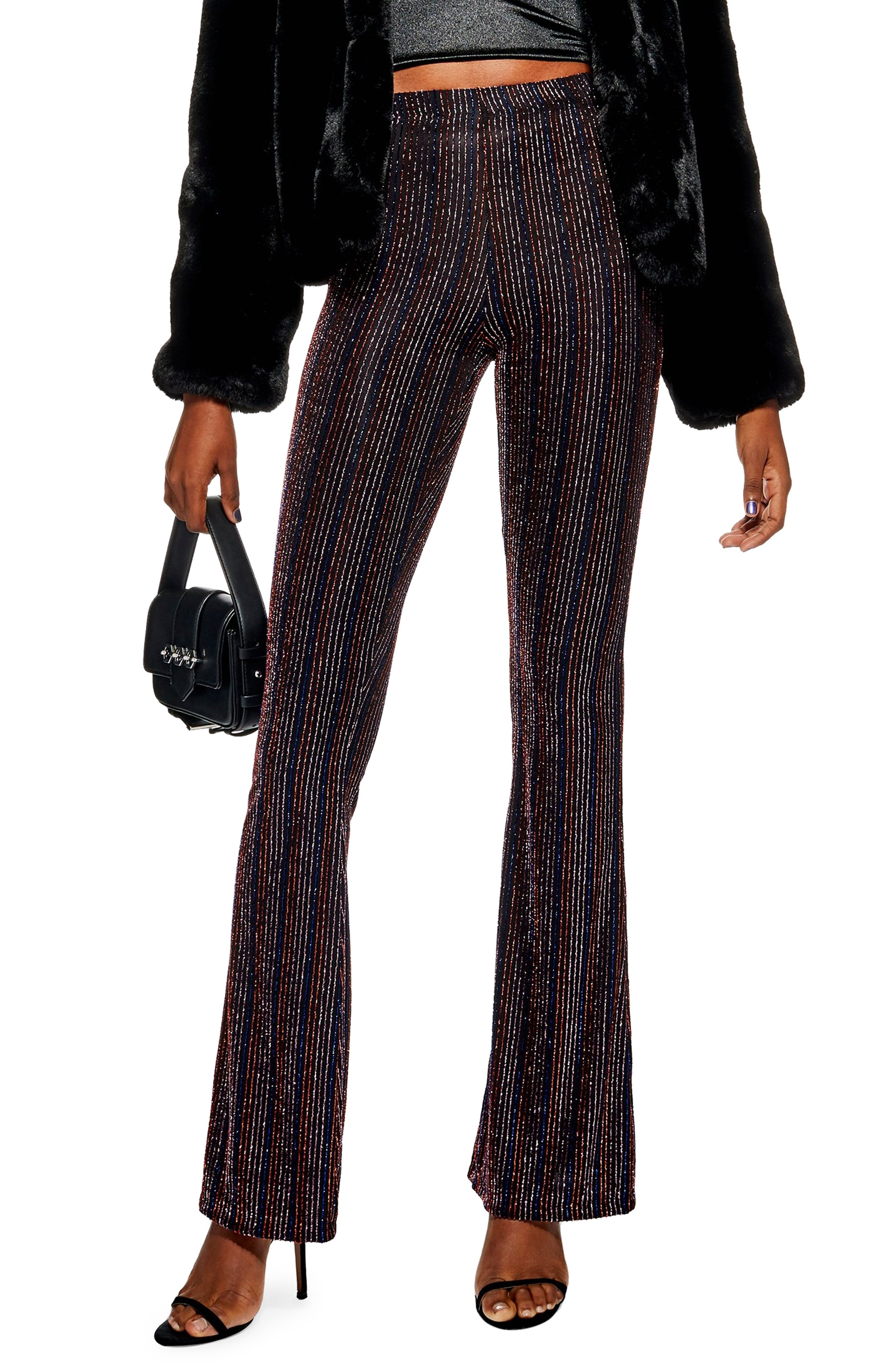 TOPSHOP, Glitter Stripe Flare Leg Pants, Main thumbnail 1, color, 001