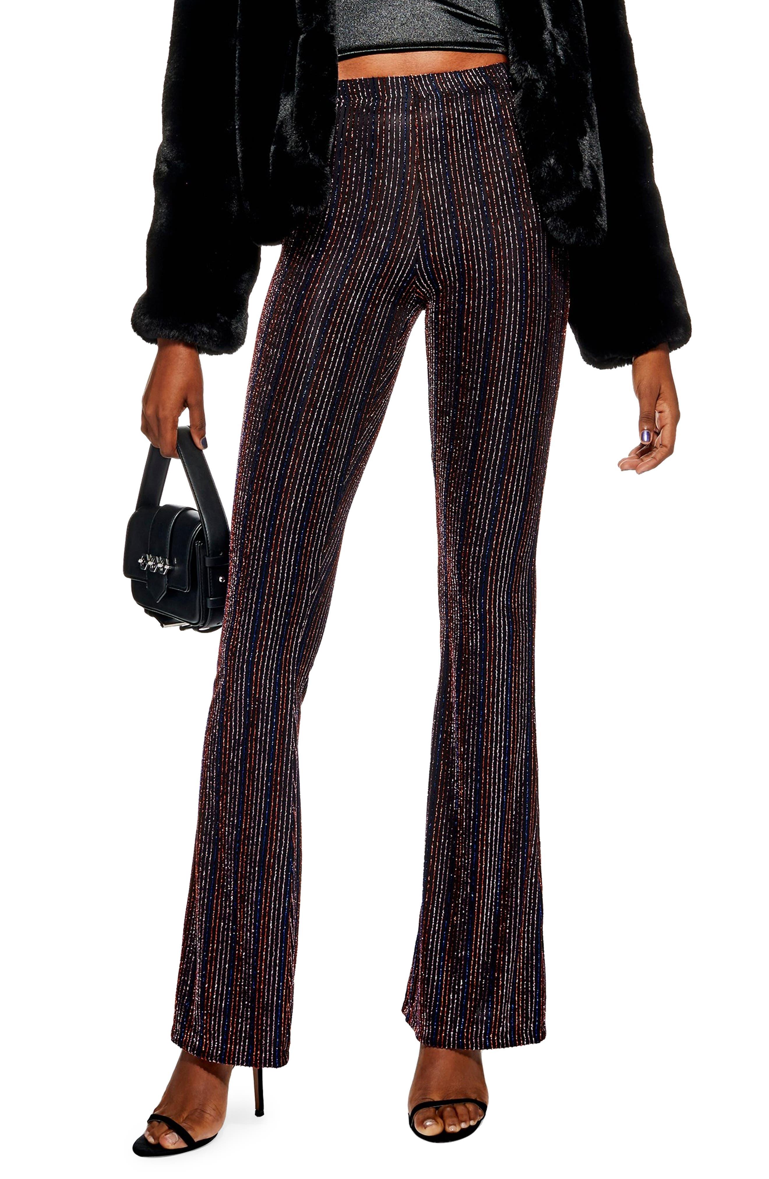 TOPSHOP Glitter Stripe Flare Leg Pants, Main, color, 001