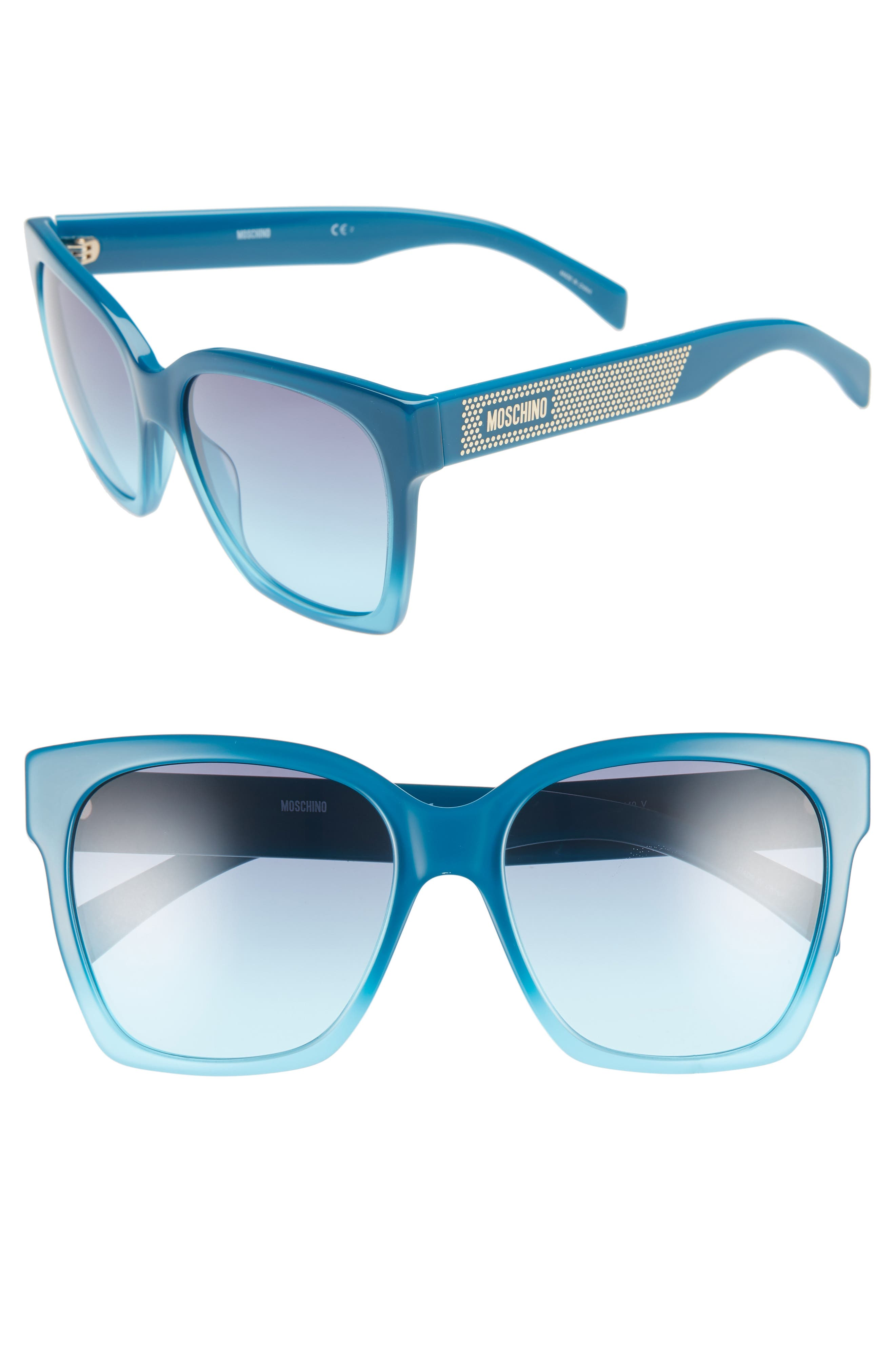 MOSCHINO 56mm Sunglasses, Main, color, TEAL TEA