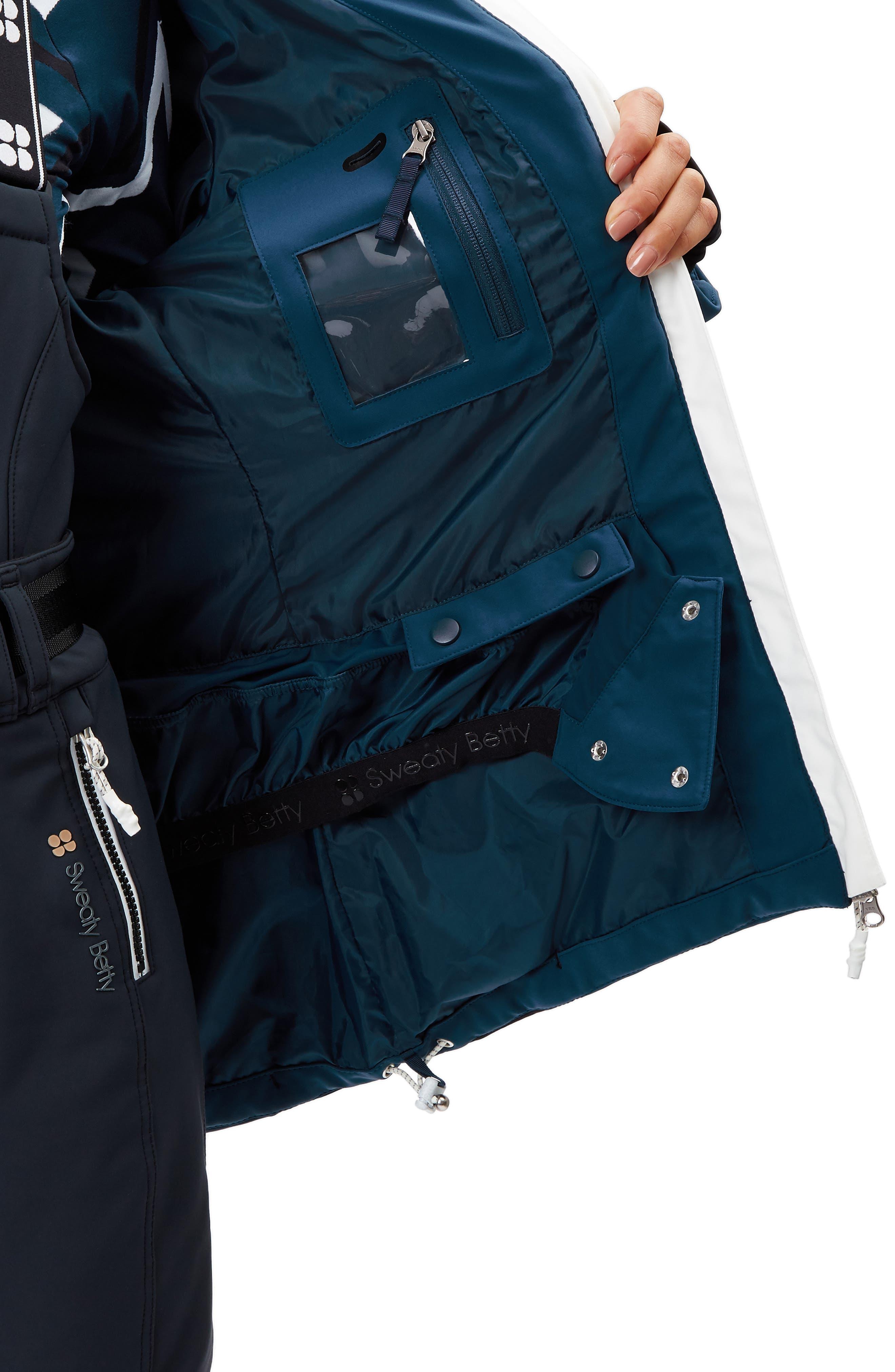 SWEATY BETTY, Method Hybrid Waterproof Ski Jacket with Faux Fur, Alternate thumbnail 5, color, BEETLE BLUE COLOUR BLOCK