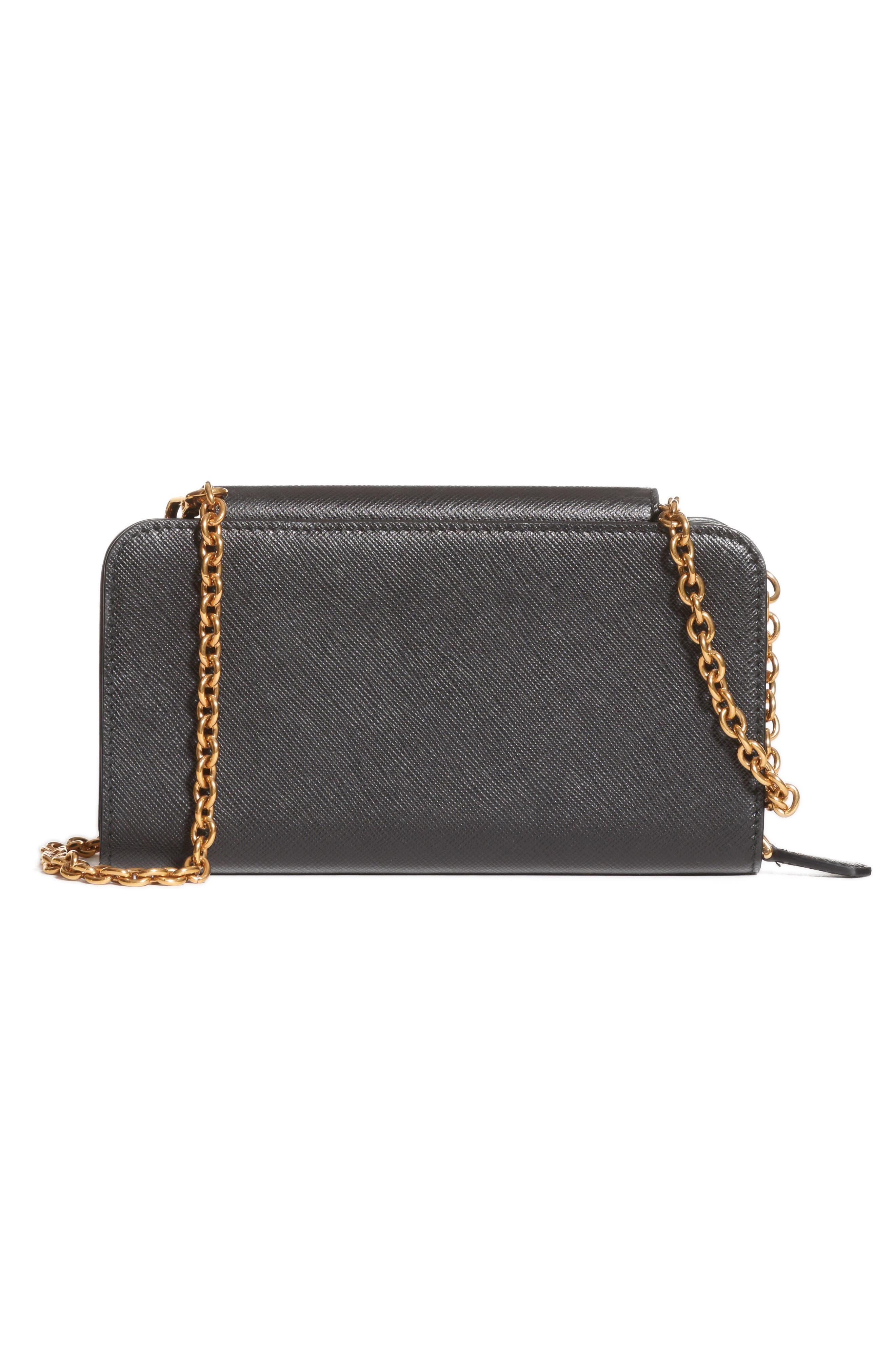 PRADA, Saffiano Leather Wallet on a Chain, Alternate thumbnail 4, color, NERO