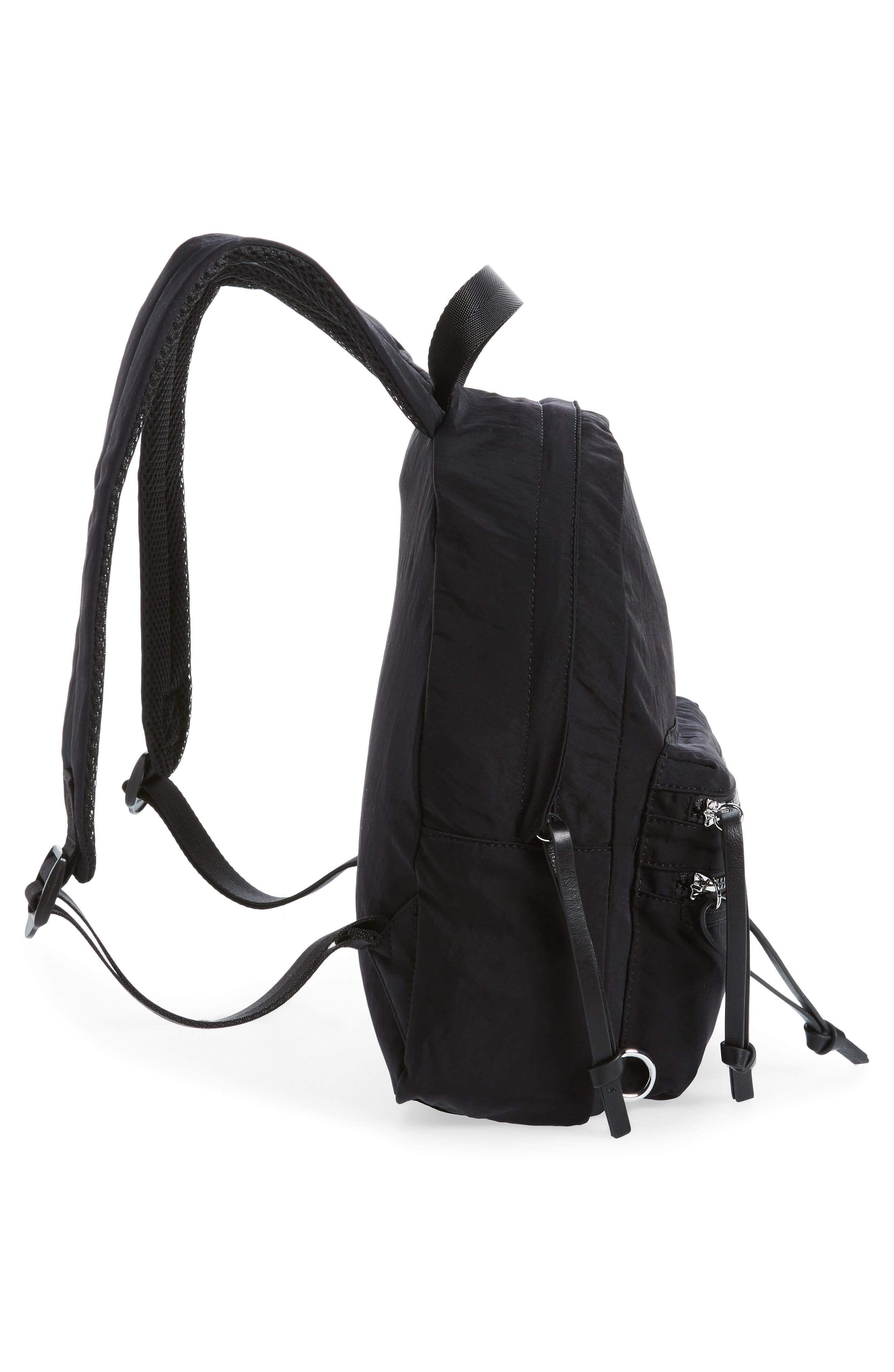 REBECCA MINKOFF, Nylon Backpack, Alternate thumbnail 6, color, BLACK