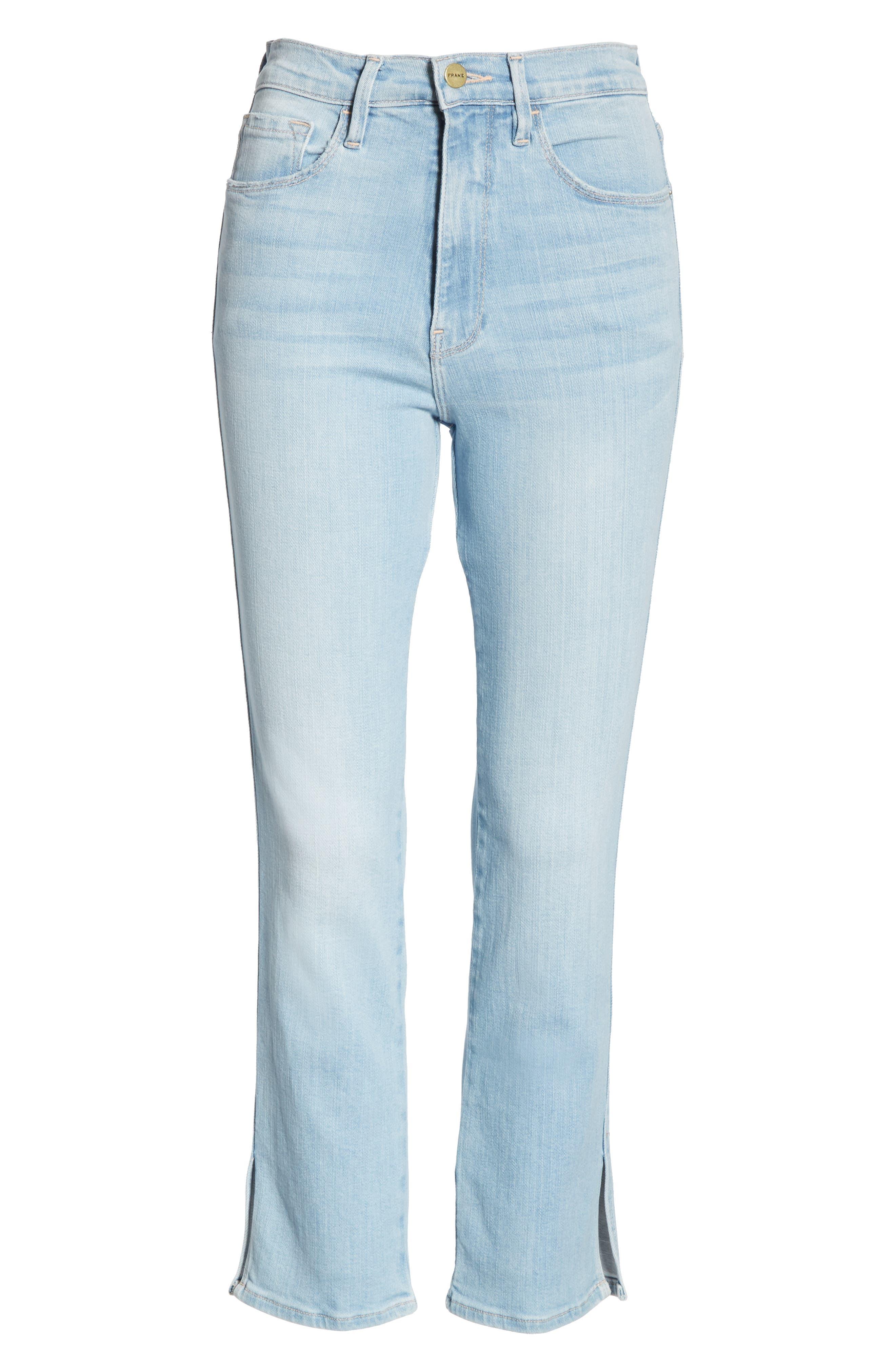 FRAME, Le Sylvie Slit Hem Crop Slim Jeans, Alternate thumbnail 7, color, SUPERSTAR