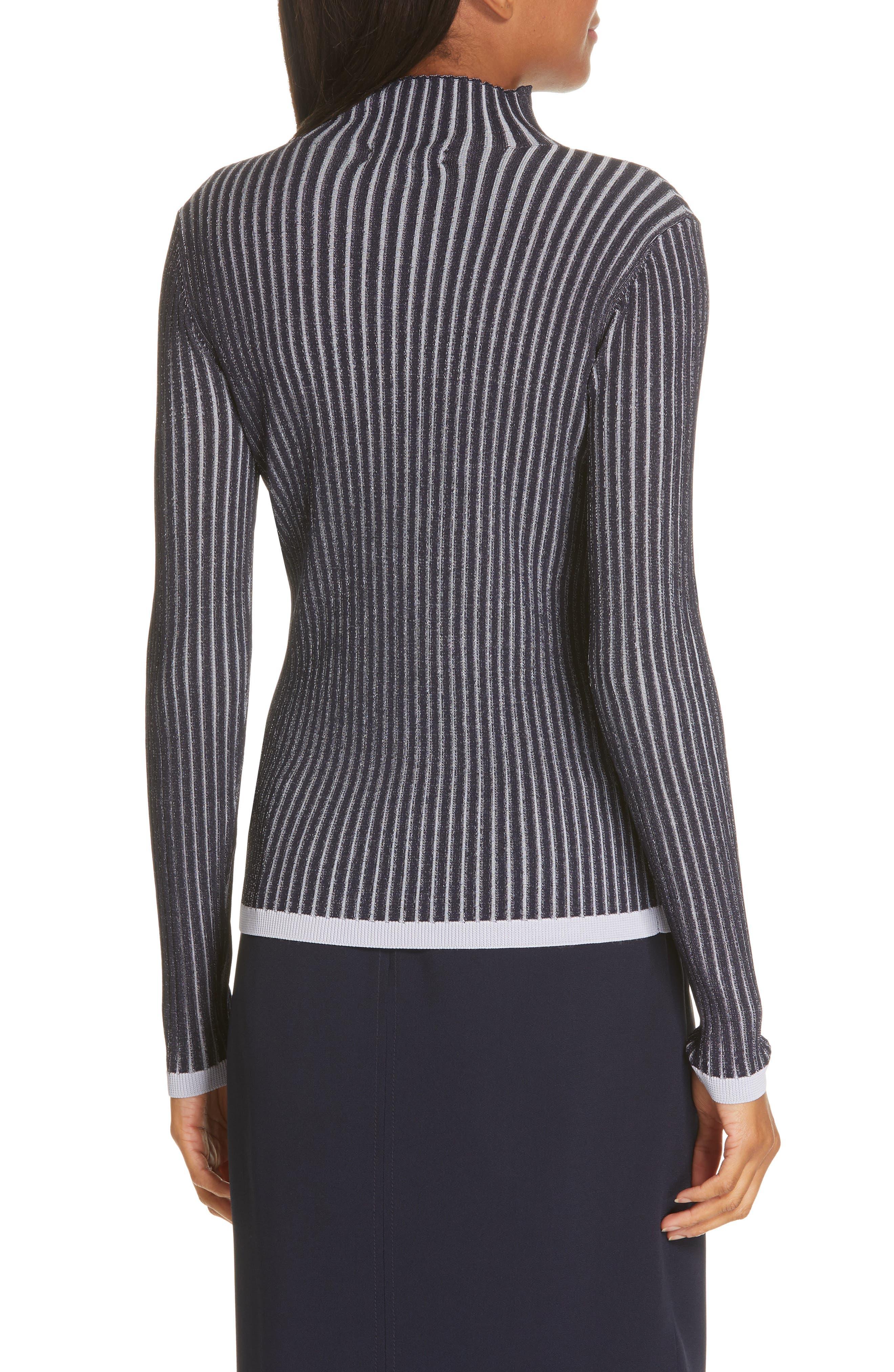 LEWIT, Stripe Ribbed Mock Neck Sweater, Alternate thumbnail 2, color, NAVY ICELANDIC STRIPE
