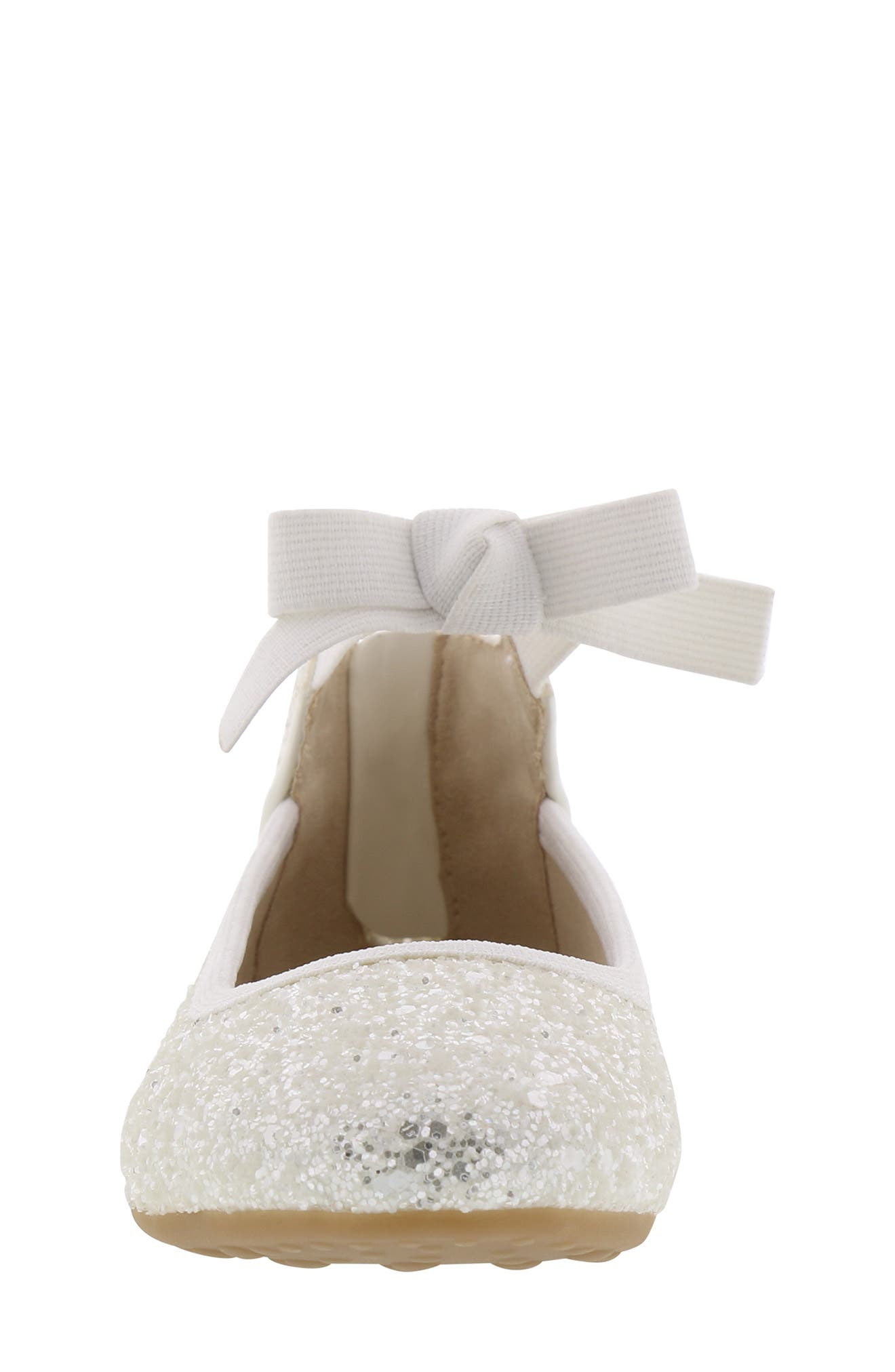 KENNETH COLE NEW YORK, Rose Bow Ballet Flat, Alternate thumbnail 4, color, WHITE SUGAR GLITTER