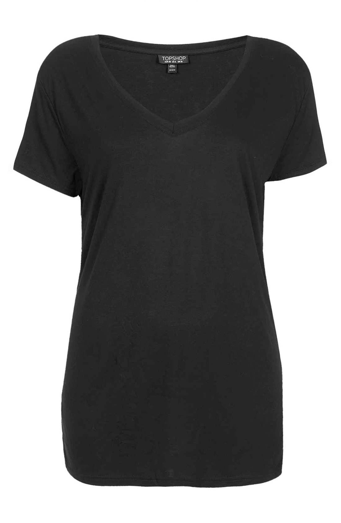 TOPSHOP, V-Neck Tee, Alternate thumbnail 4, color, 001